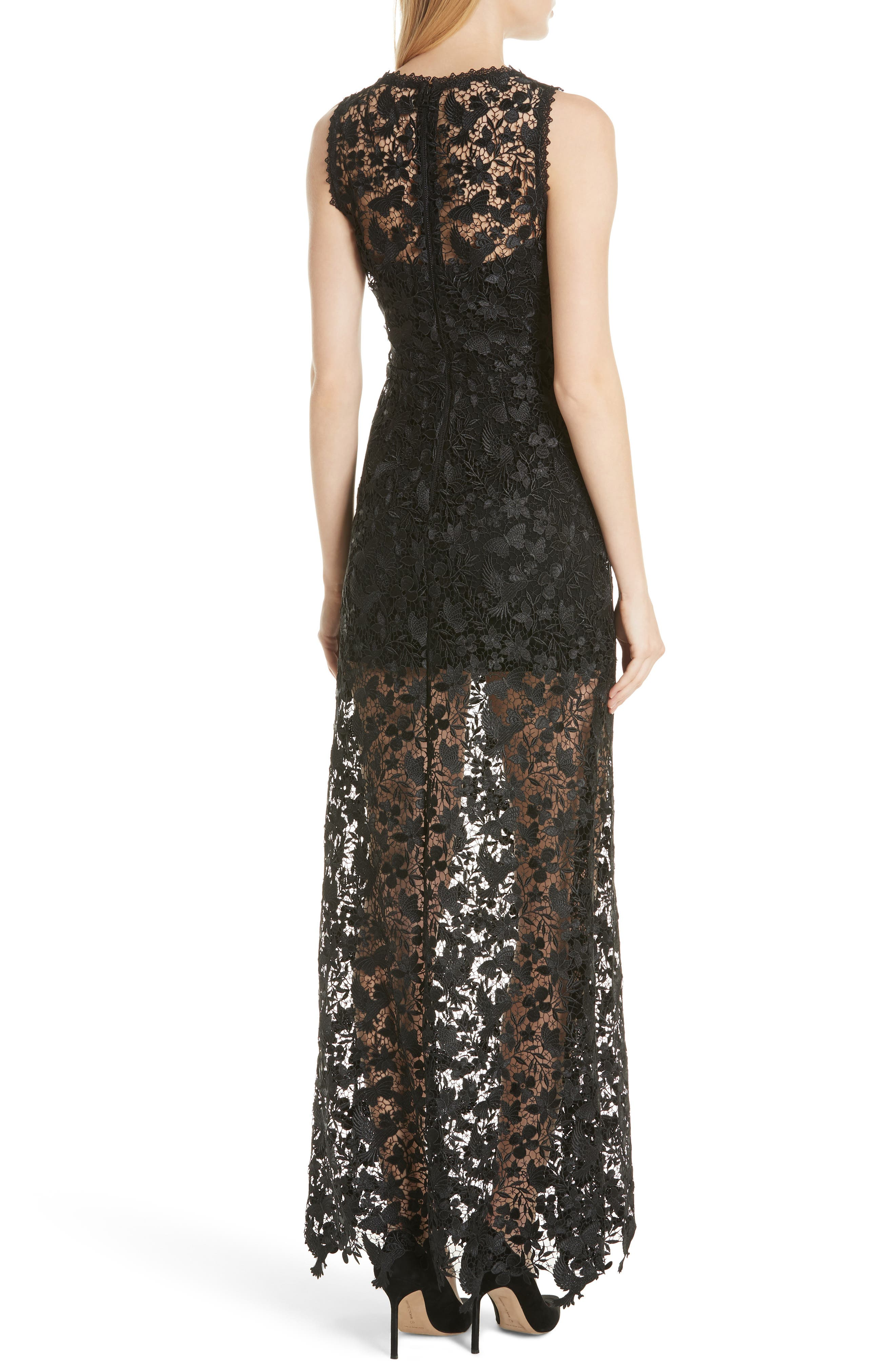 Danielle Silk Lace Overlay Sheer Maxi Dress,                             Alternate thumbnail 2, color,                             Black