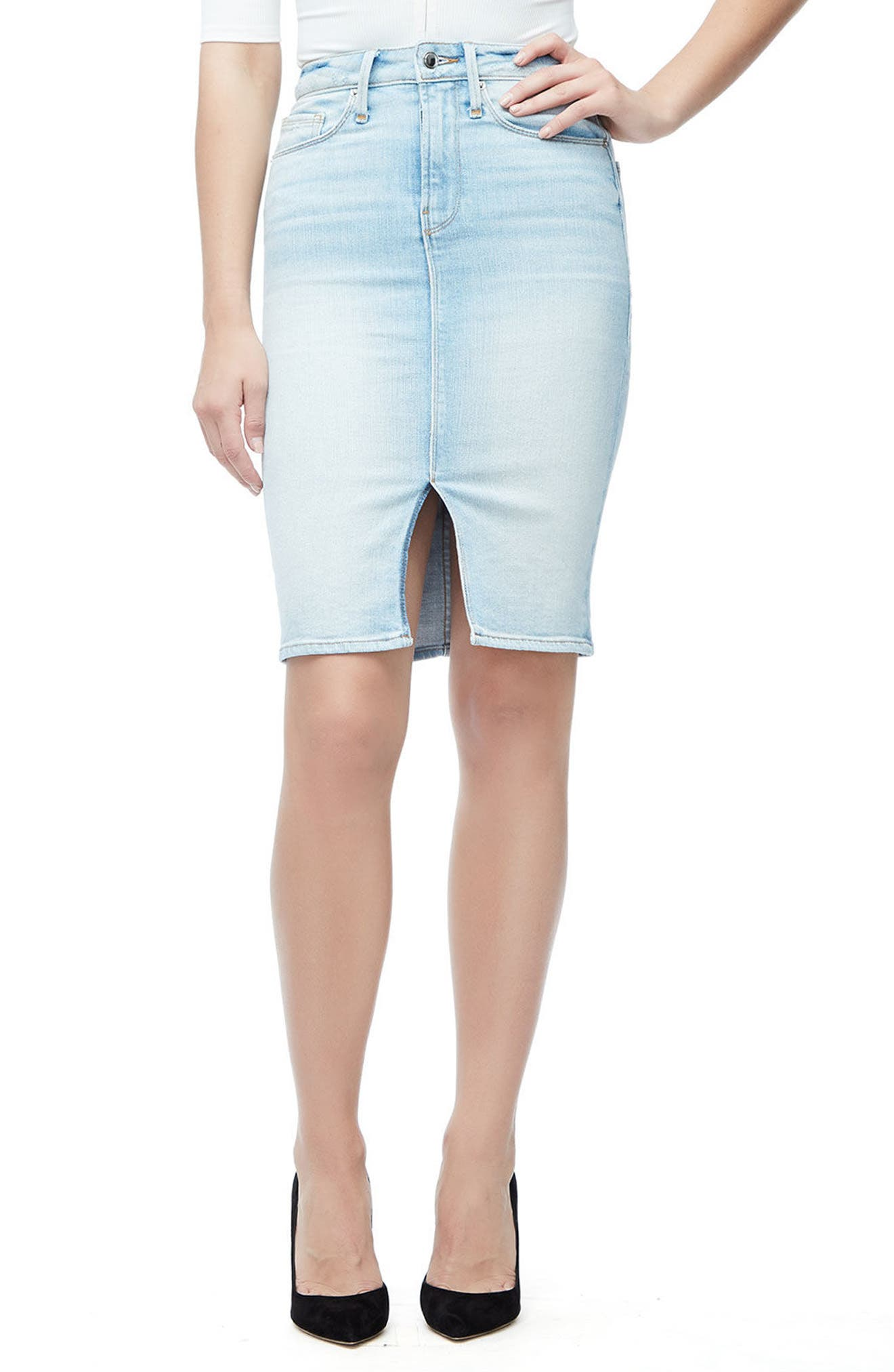 Good American The Pencil Skirt (Blue 146) (Regular & Plus Size)