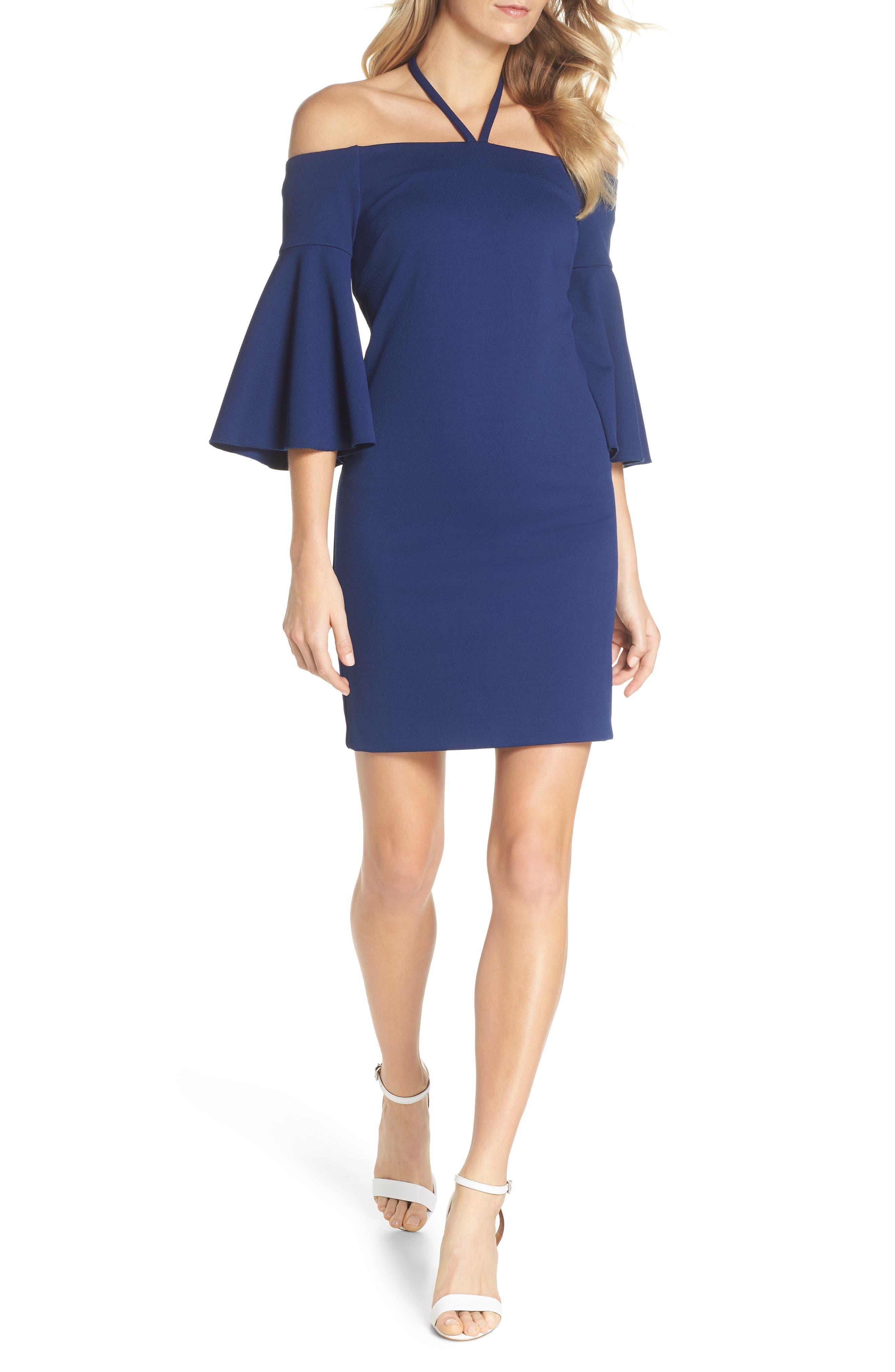 Shell Beach Bell Sleeve Halter Dress,                             Main thumbnail 1, color,                             Bondi Blue