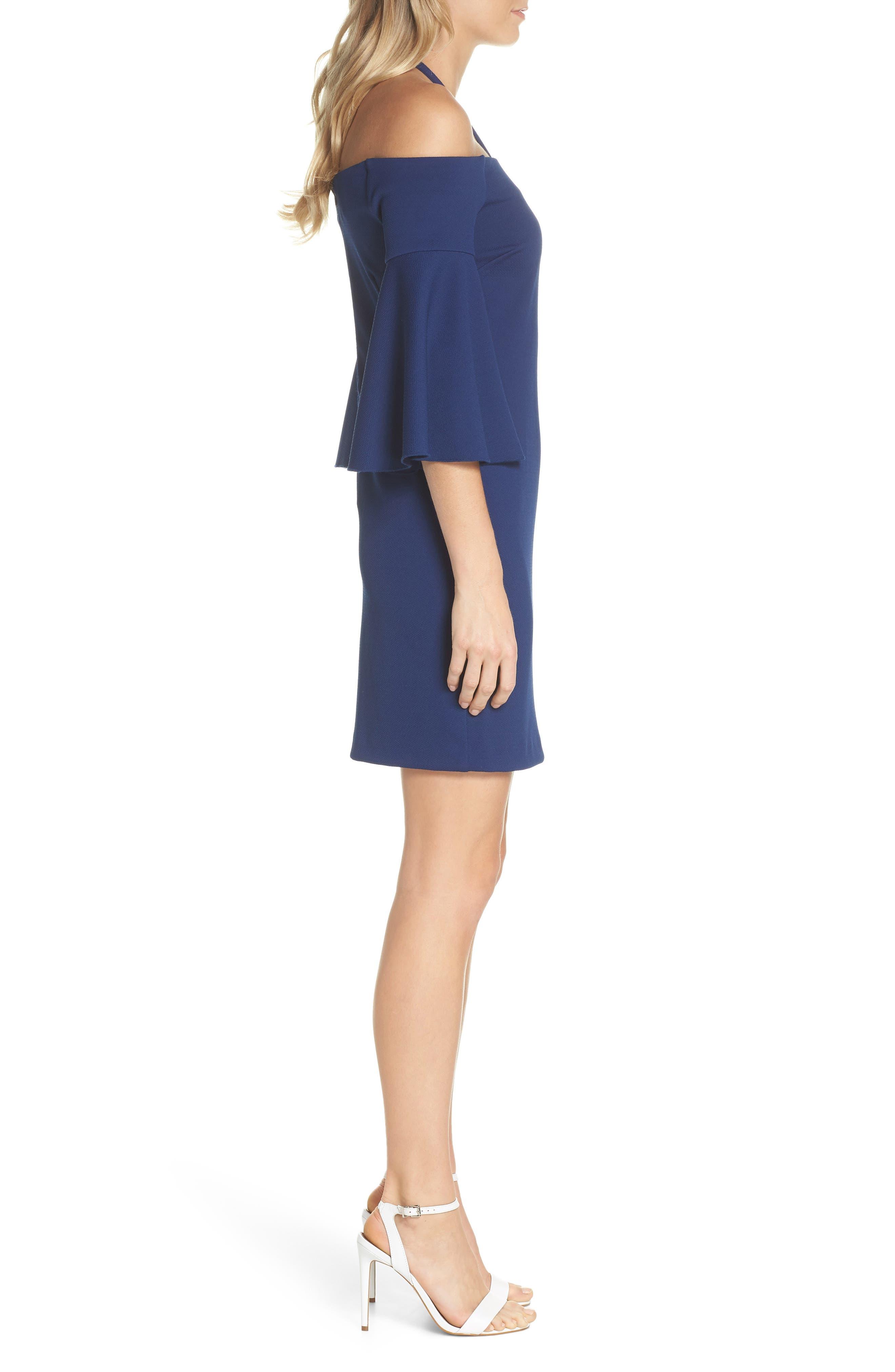 Shell Beach Bell Sleeve Halter Dress,                             Alternate thumbnail 3, color,                             Bondi Blue
