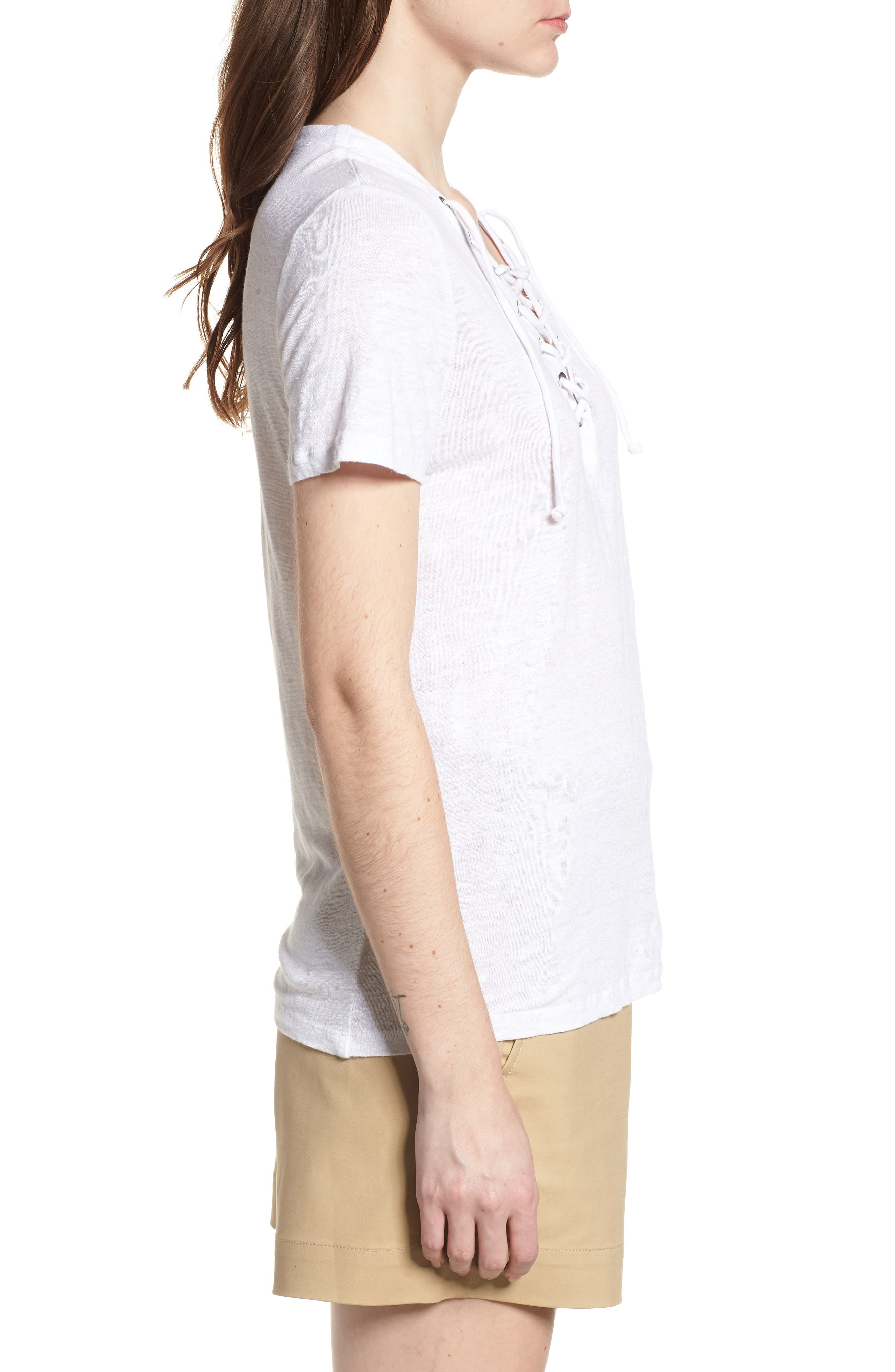 Pier Lace-Up Tee,                             Alternate thumbnail 3, color,                             White