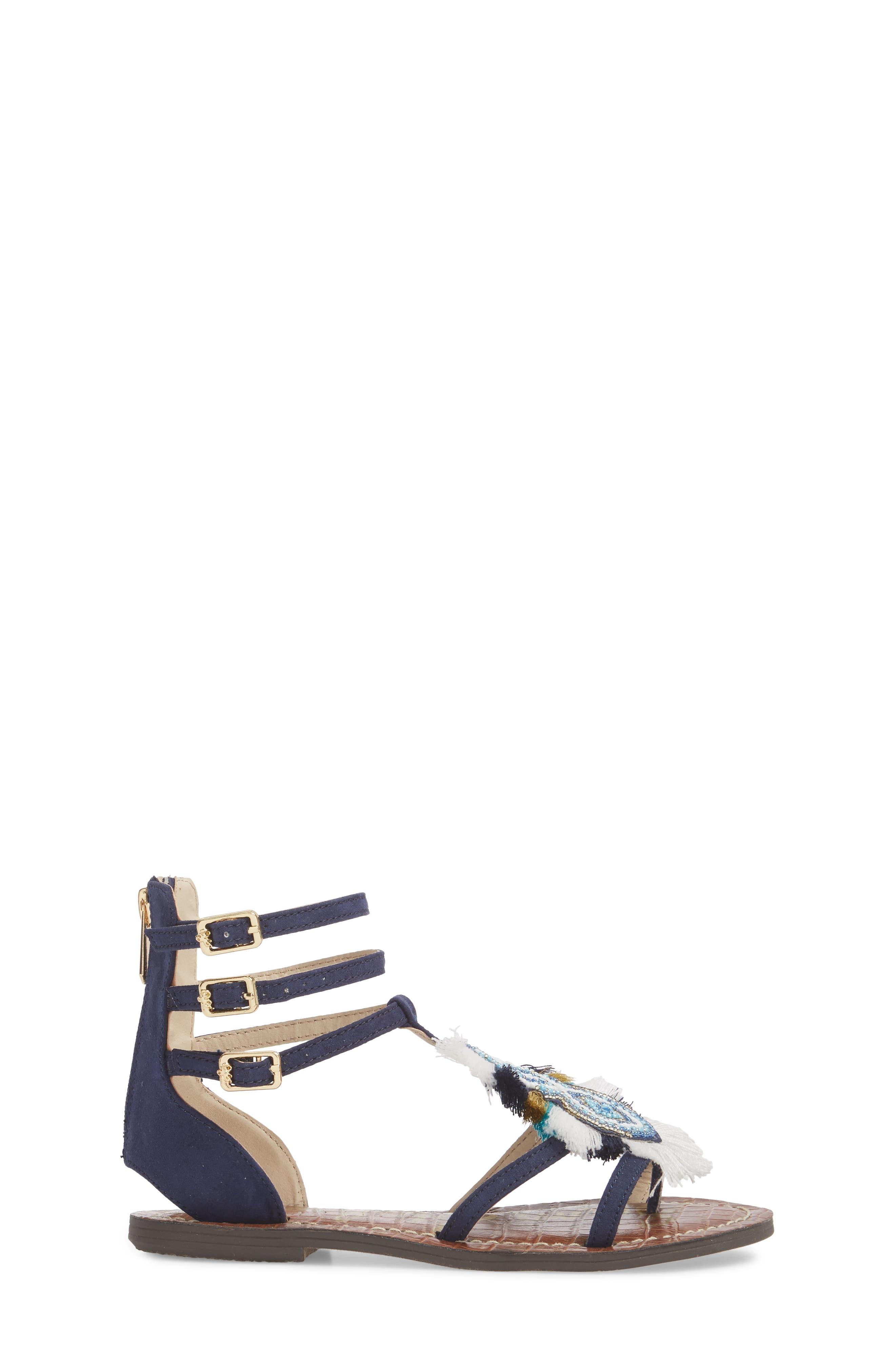 Gigi Giselle Embellished Sandal,                             Alternate thumbnail 3, color,                             Navy Faux Suede
