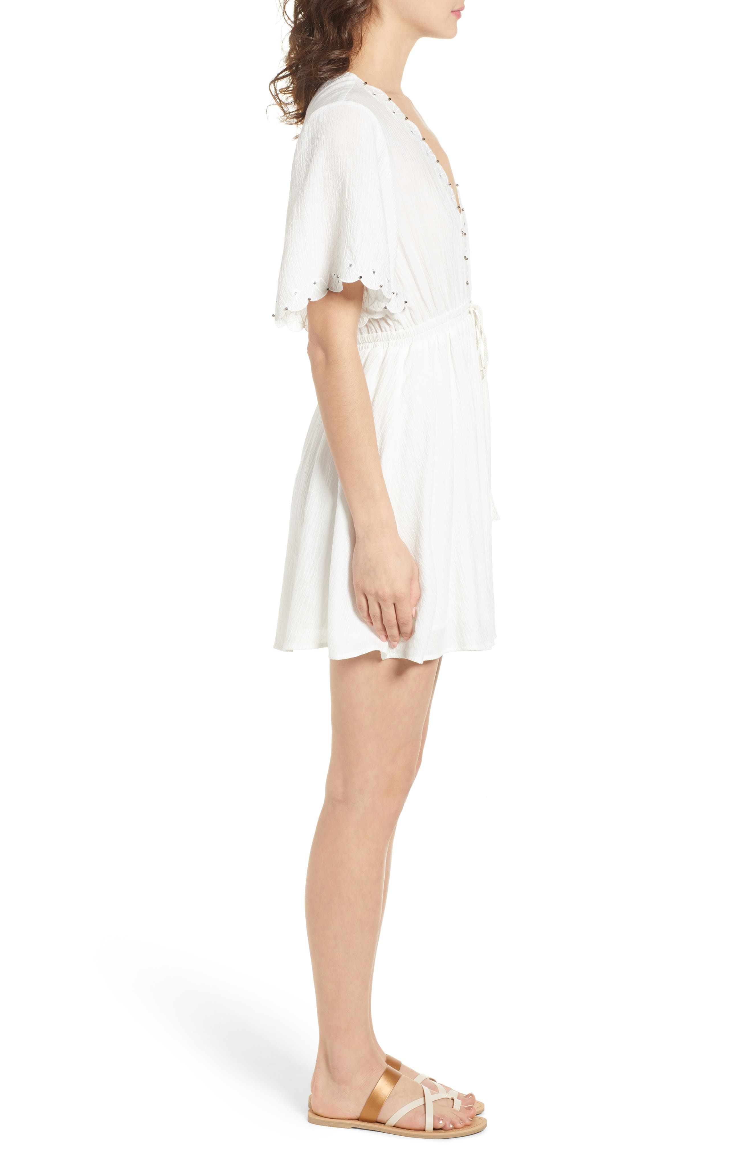 Magnolia Flutter Sleeve Dress,                             Alternate thumbnail 3, color,                             White