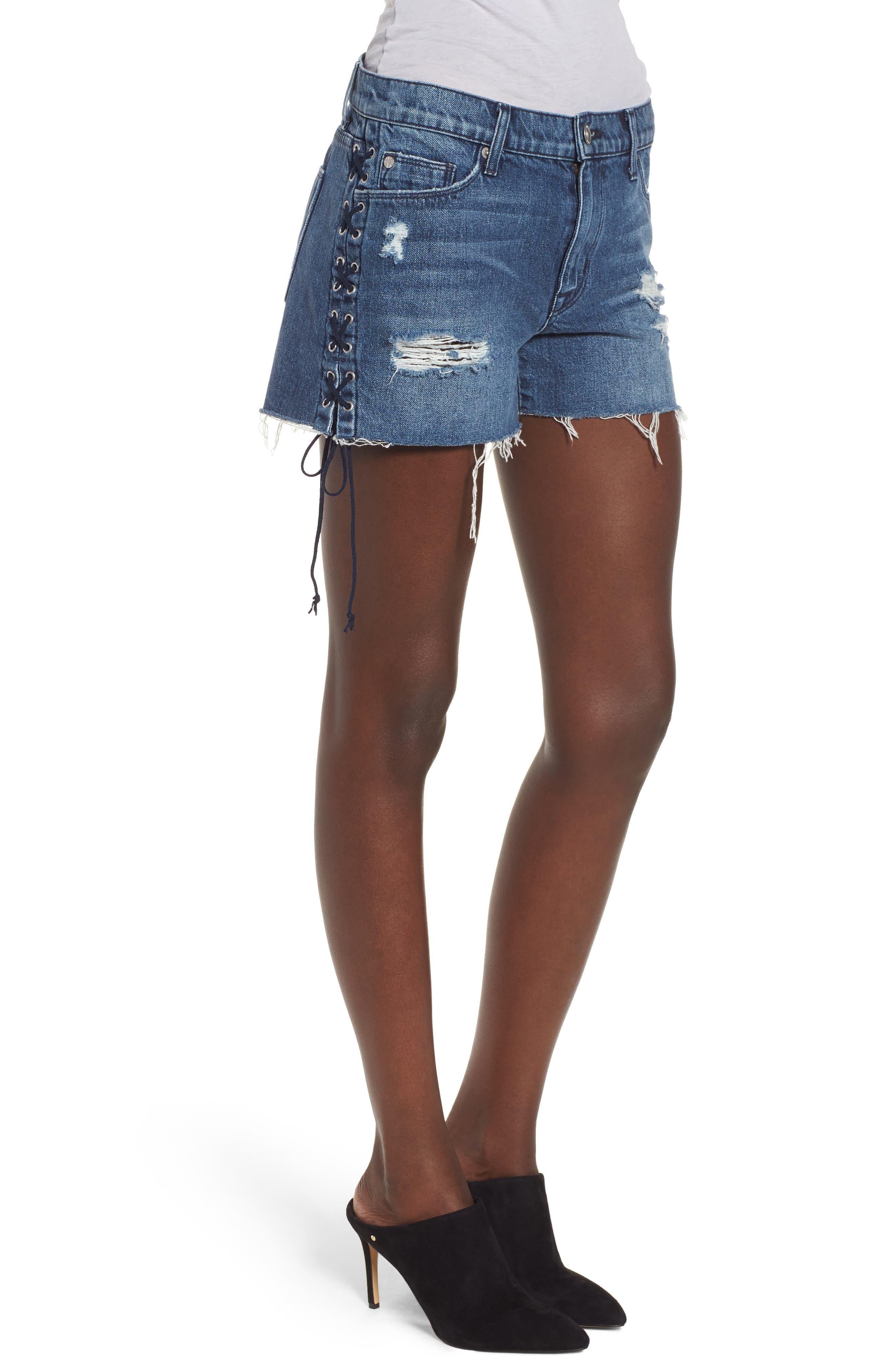Alternate Image 3  - Hudson Jeans Sade Lace-Up Cutoff Denim Shorts (Topaz)