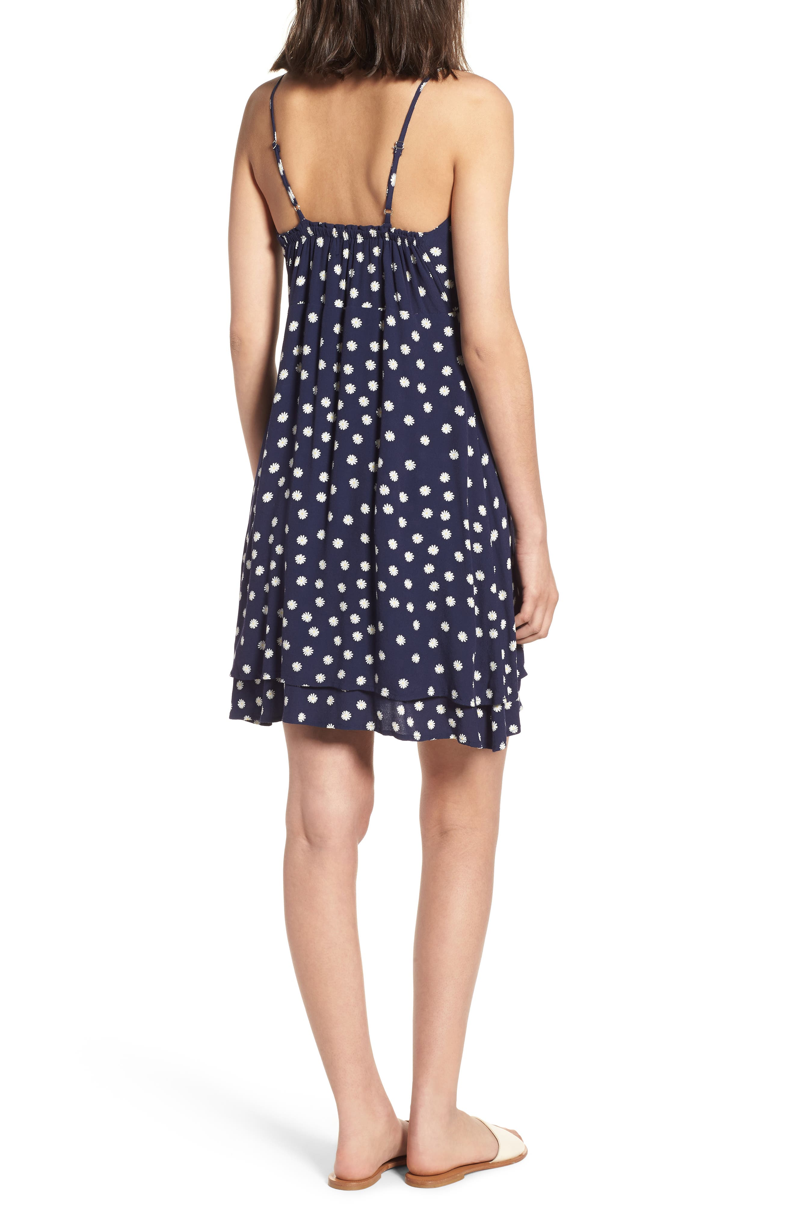 August Daisy Tie Front Dress,                             Alternate thumbnail 2, color,                             Navy Daisies