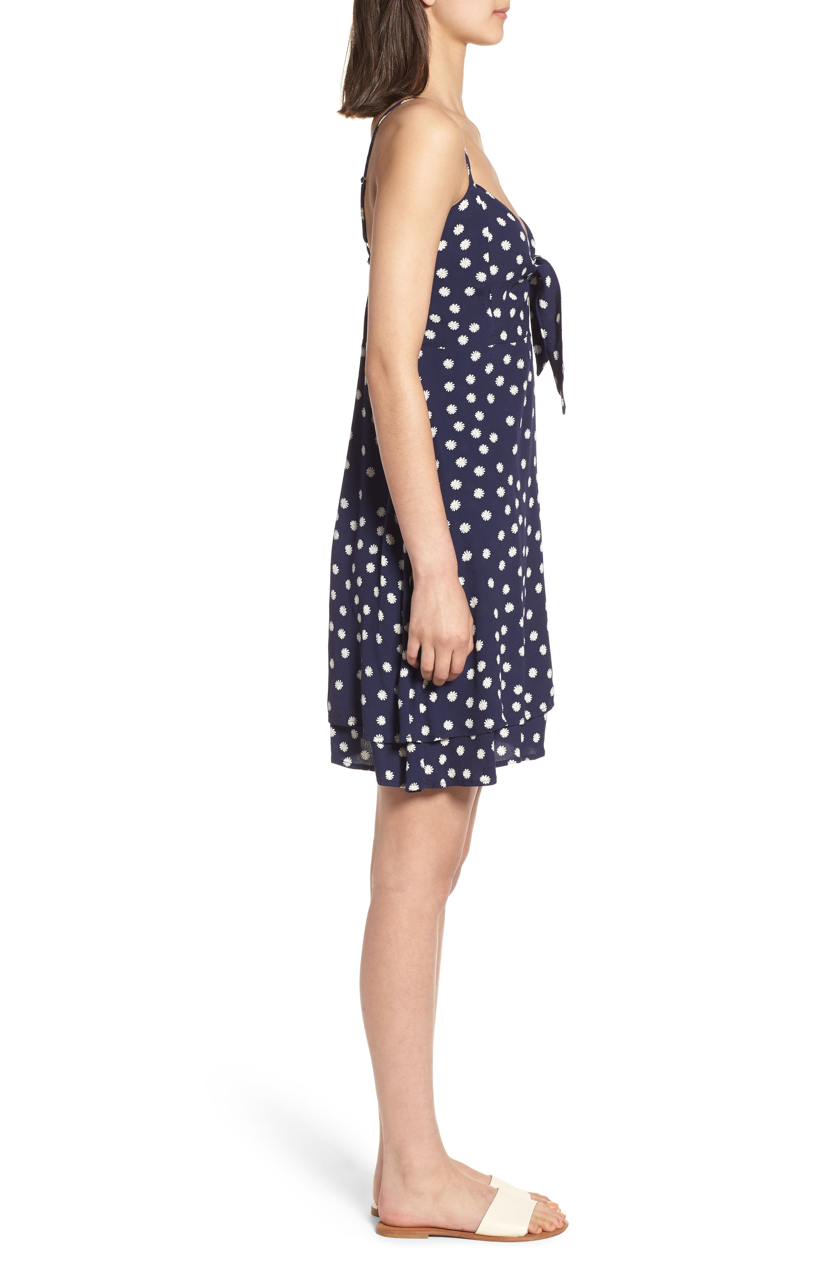 August Daisy Tie Front Dress,                             Alternate thumbnail 3, color,                             Navy Daisies