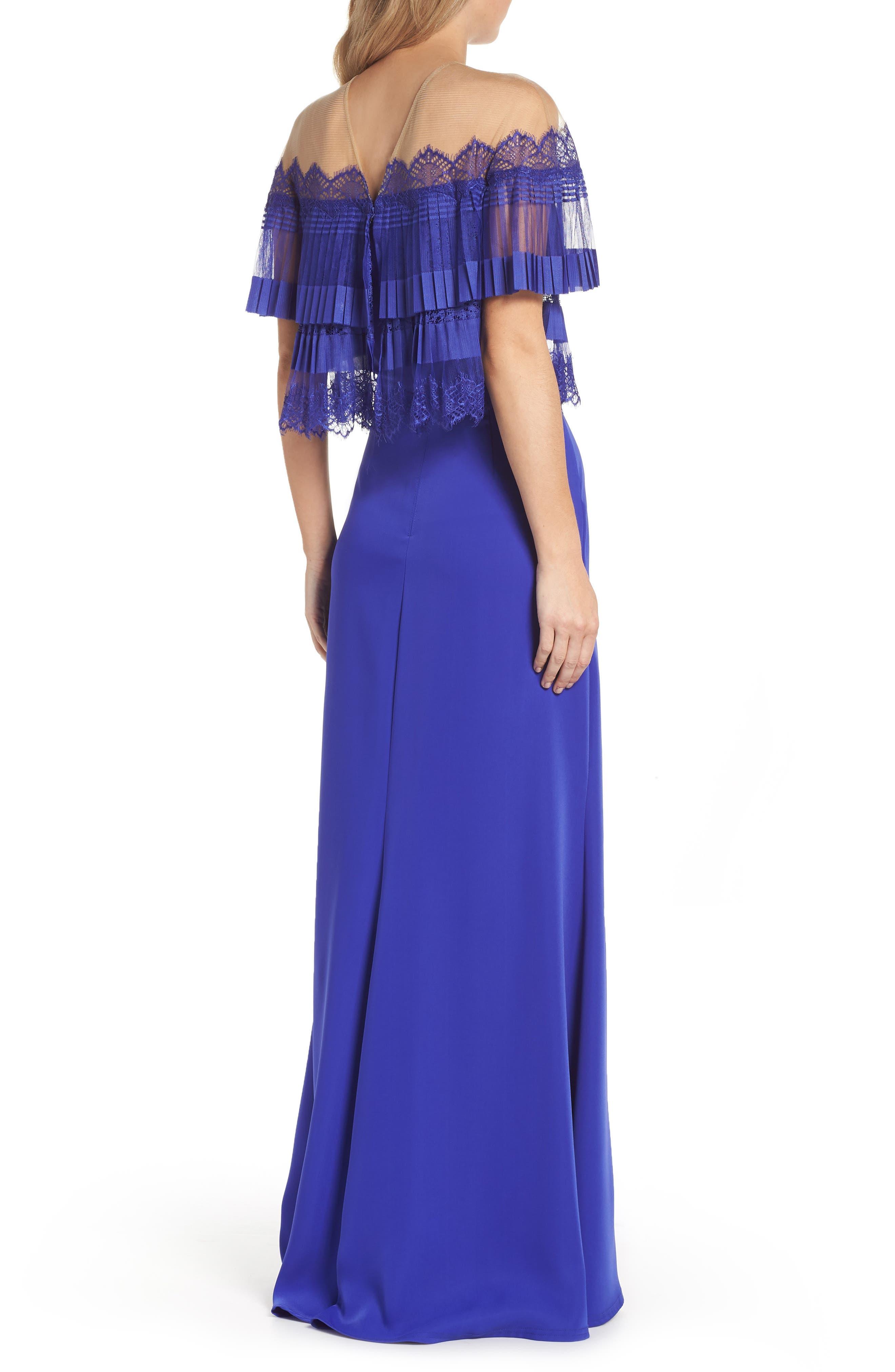 Off-the-Shoulder Lace & Crepe Gown,                             Alternate thumbnail 2, color,                             Royal Iris