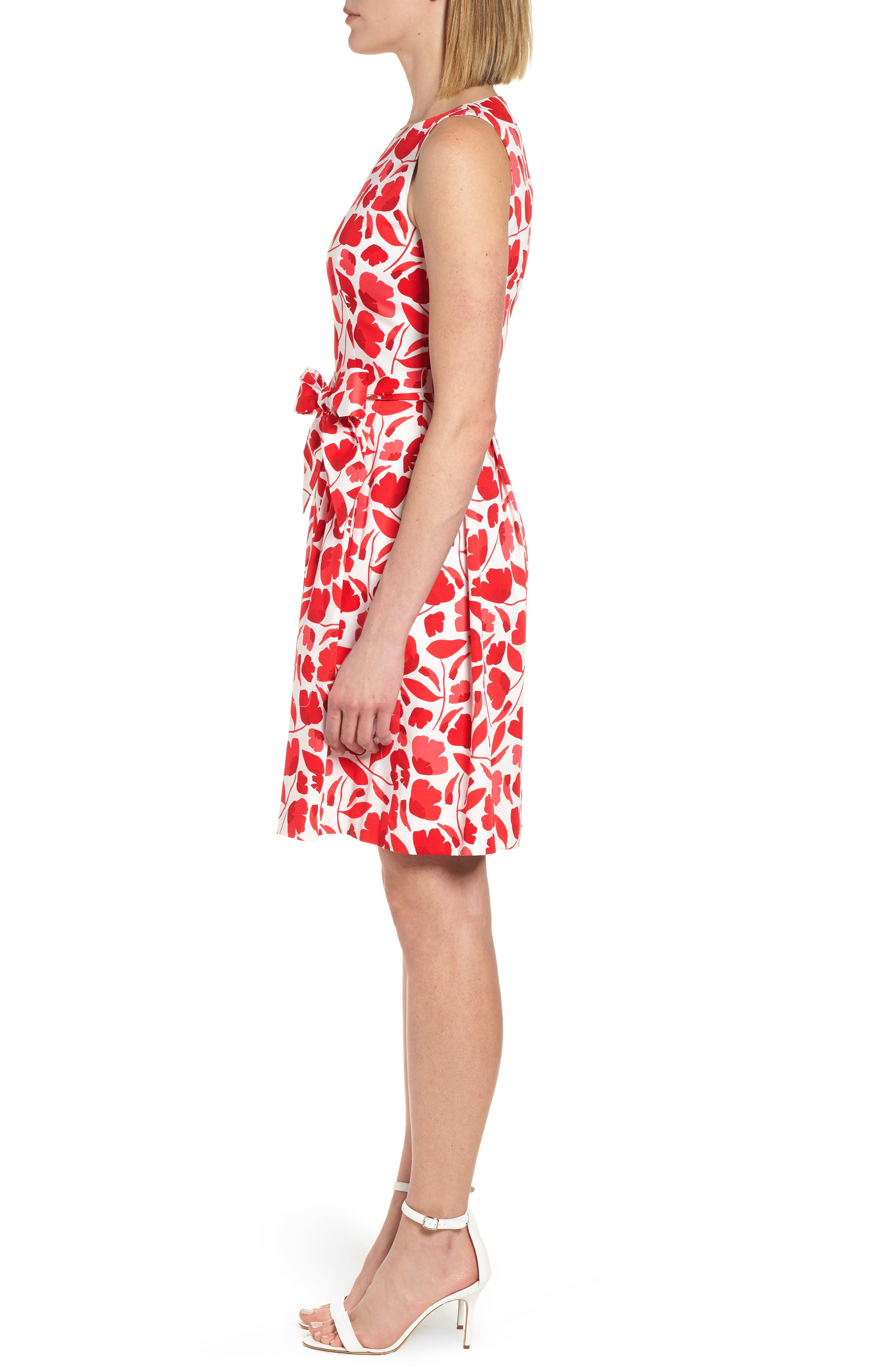 Floral Fit & Flare Dress,                             Alternate thumbnail 3, color,                             Tomato Combo