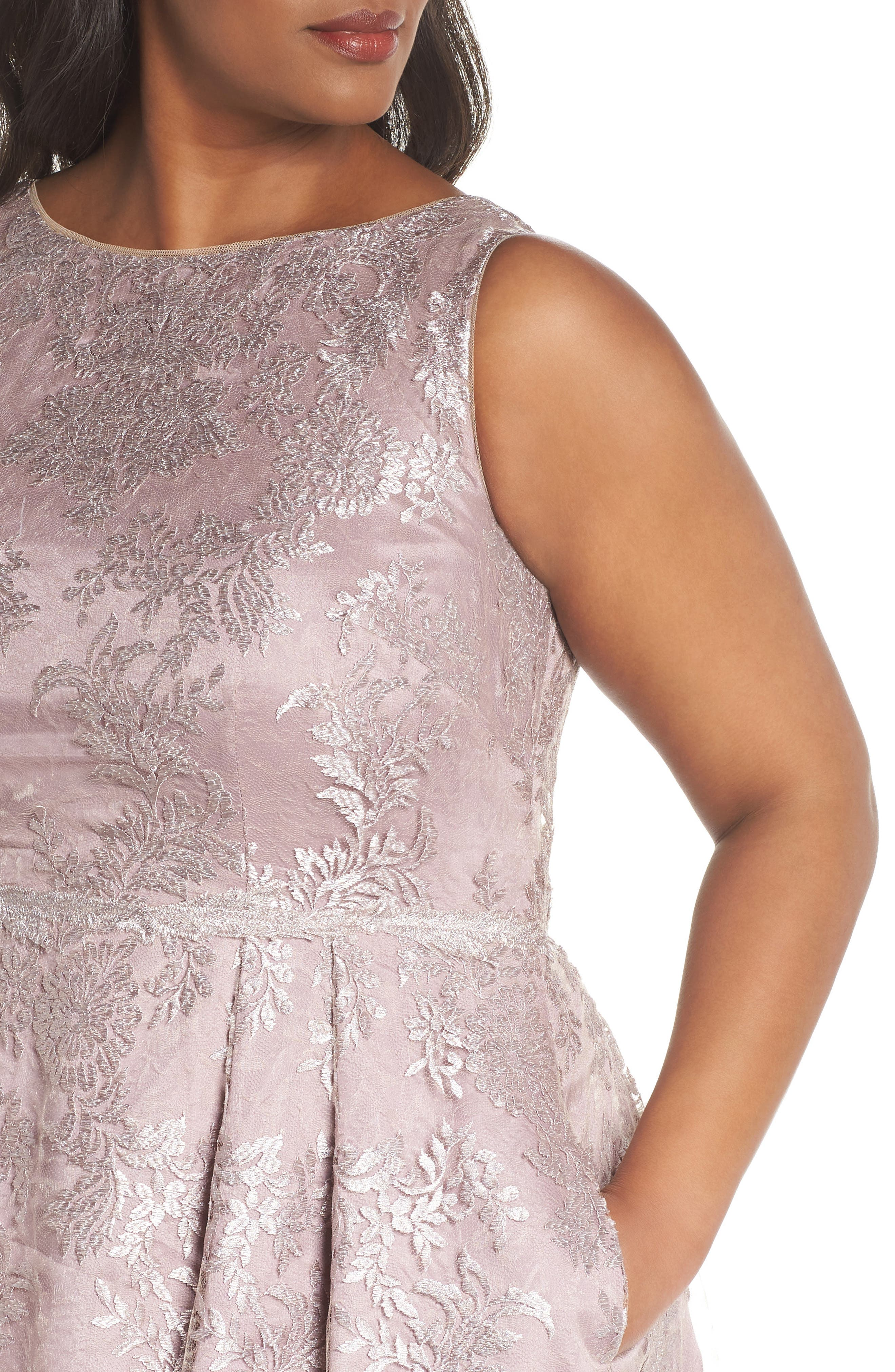 Metallic Embroidered Tea Length Dress,                             Alternate thumbnail 4, color,                             Lily Rose