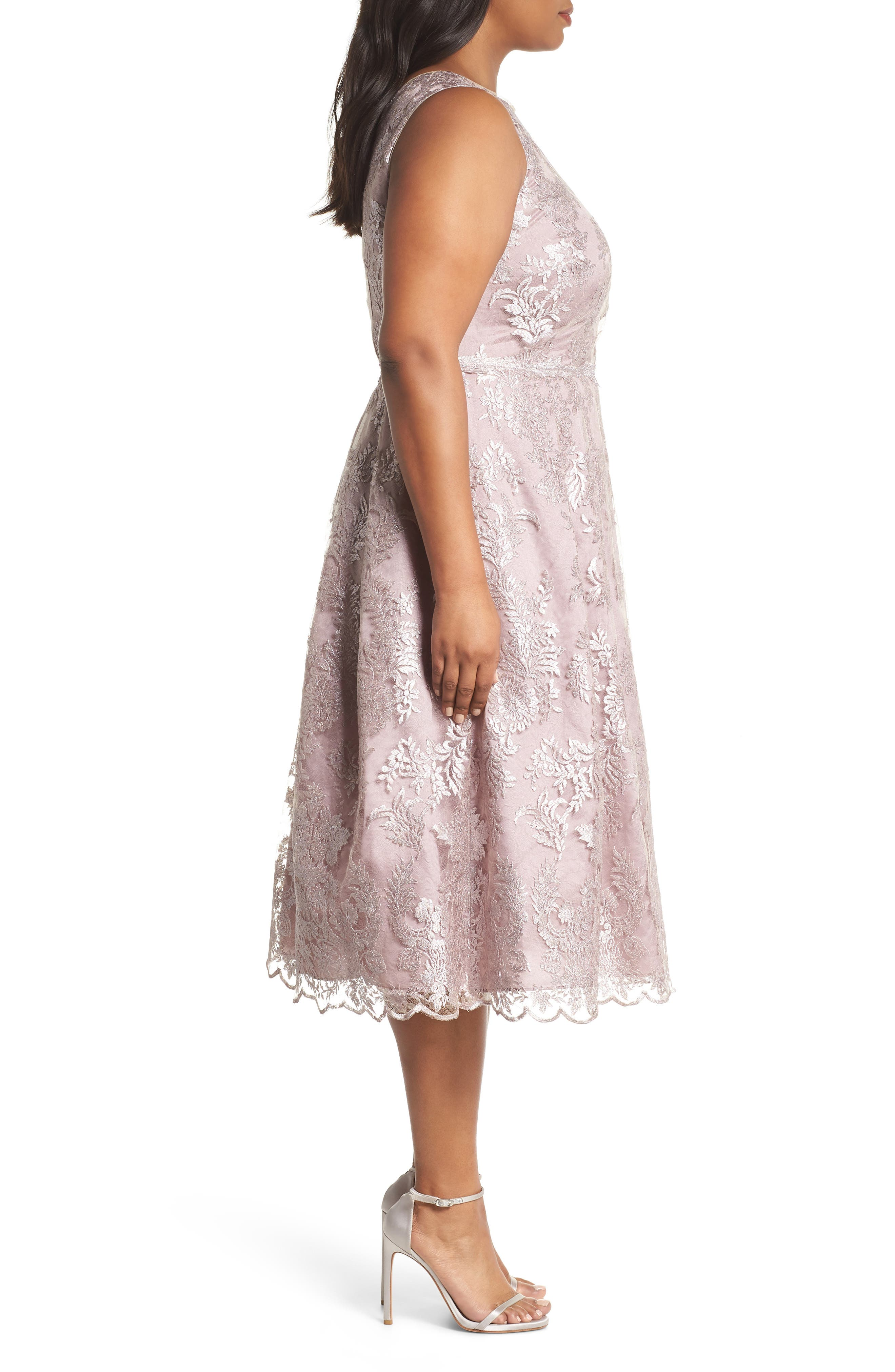 Metallic Embroidered Tea Length Dress,                             Alternate thumbnail 3, color,                             Lily Rose
