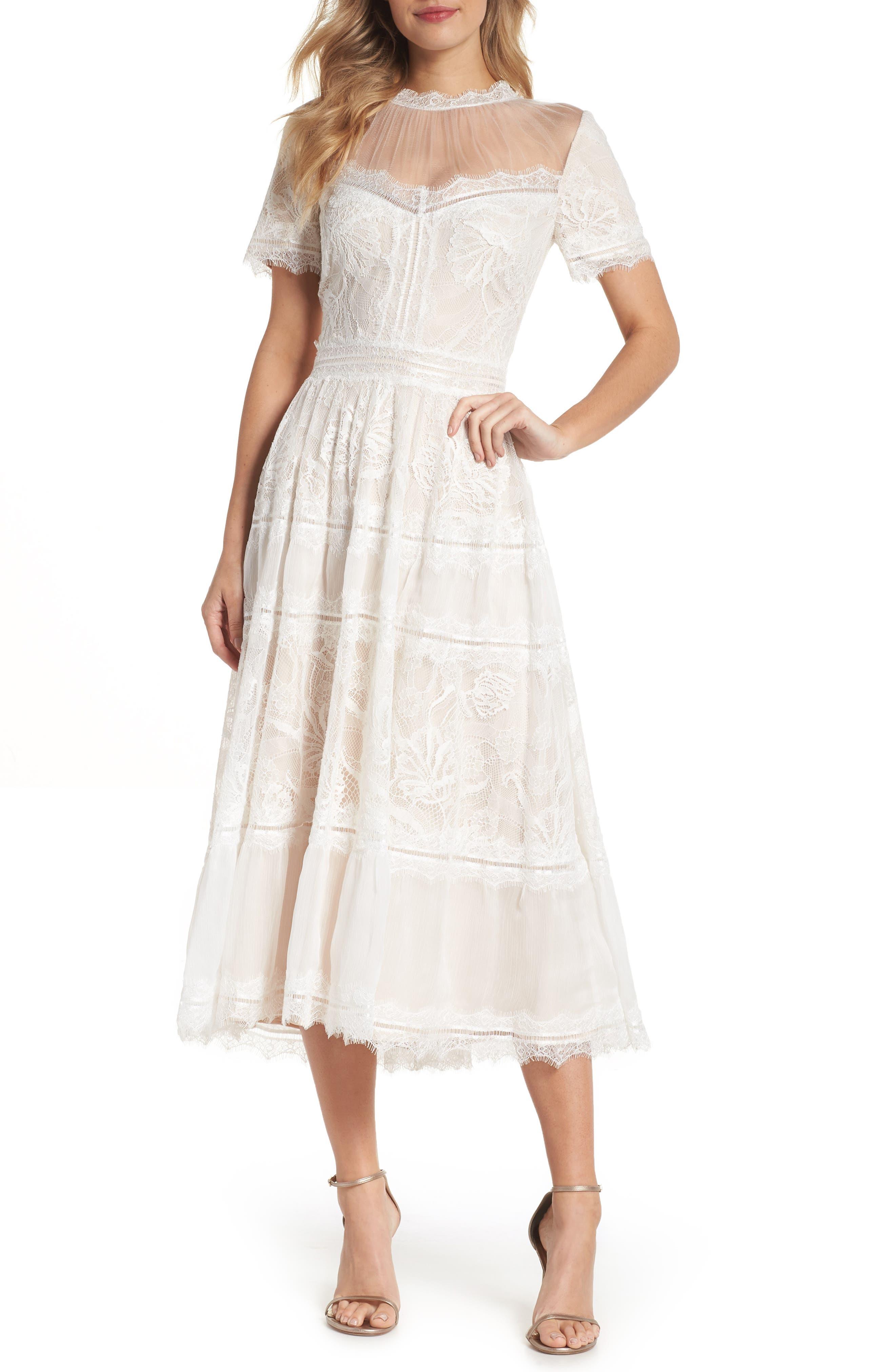 Lace Tea-Length Dress,                             Main thumbnail 1, color,                             Ivory/ Petal