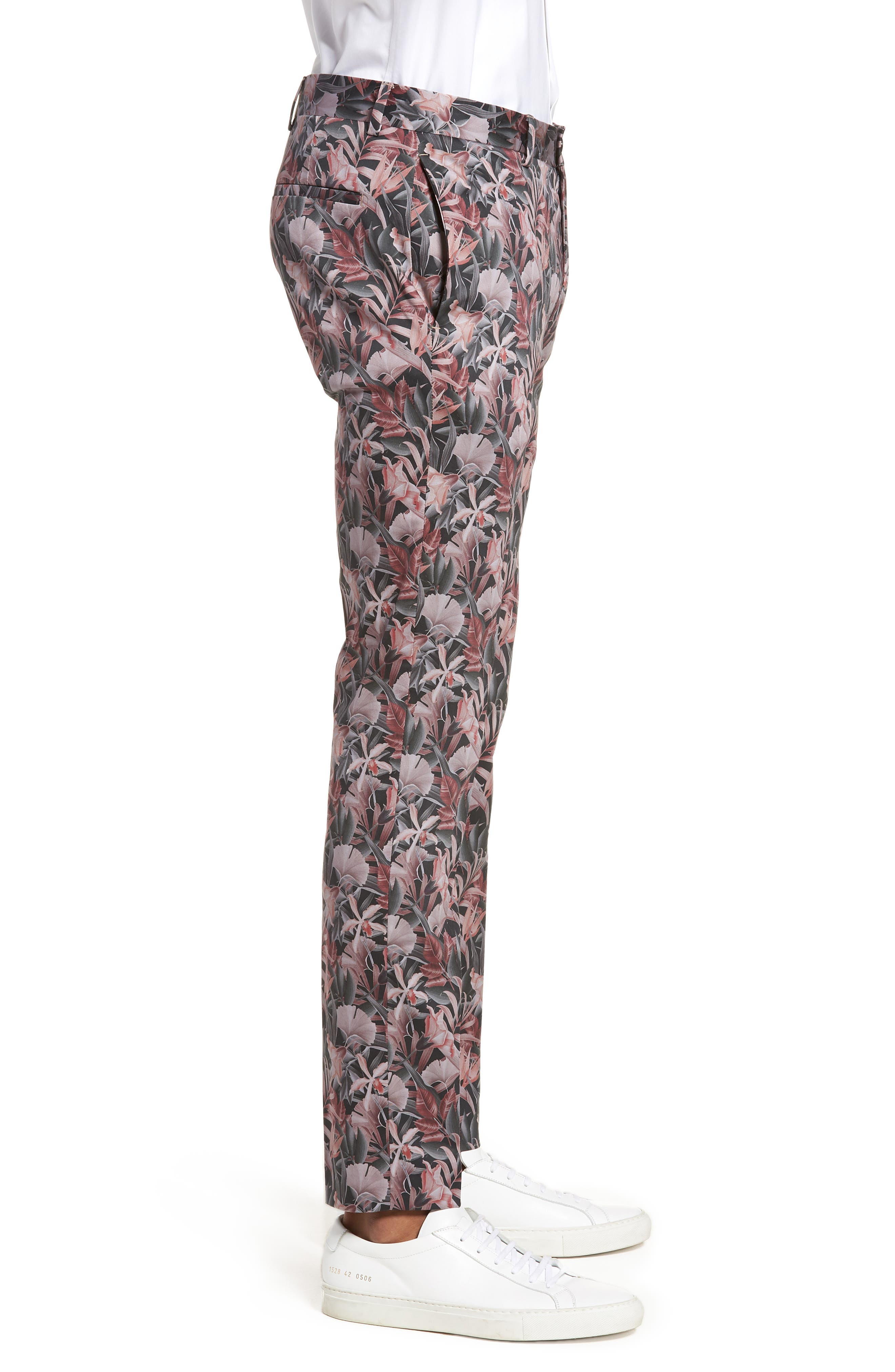 Ultra Skinny Fit Hibiscus Print Suit Trousers,                             Alternate thumbnail 3, color,                             Pink Multi