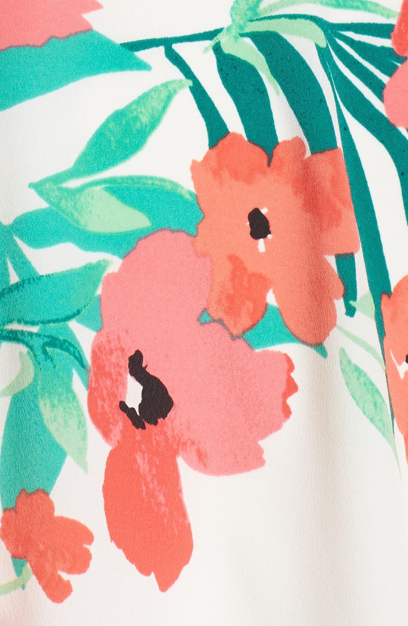 Print Handkerchief Hem Dress,                             Alternate thumbnail 6, color,                             Ivory Multi