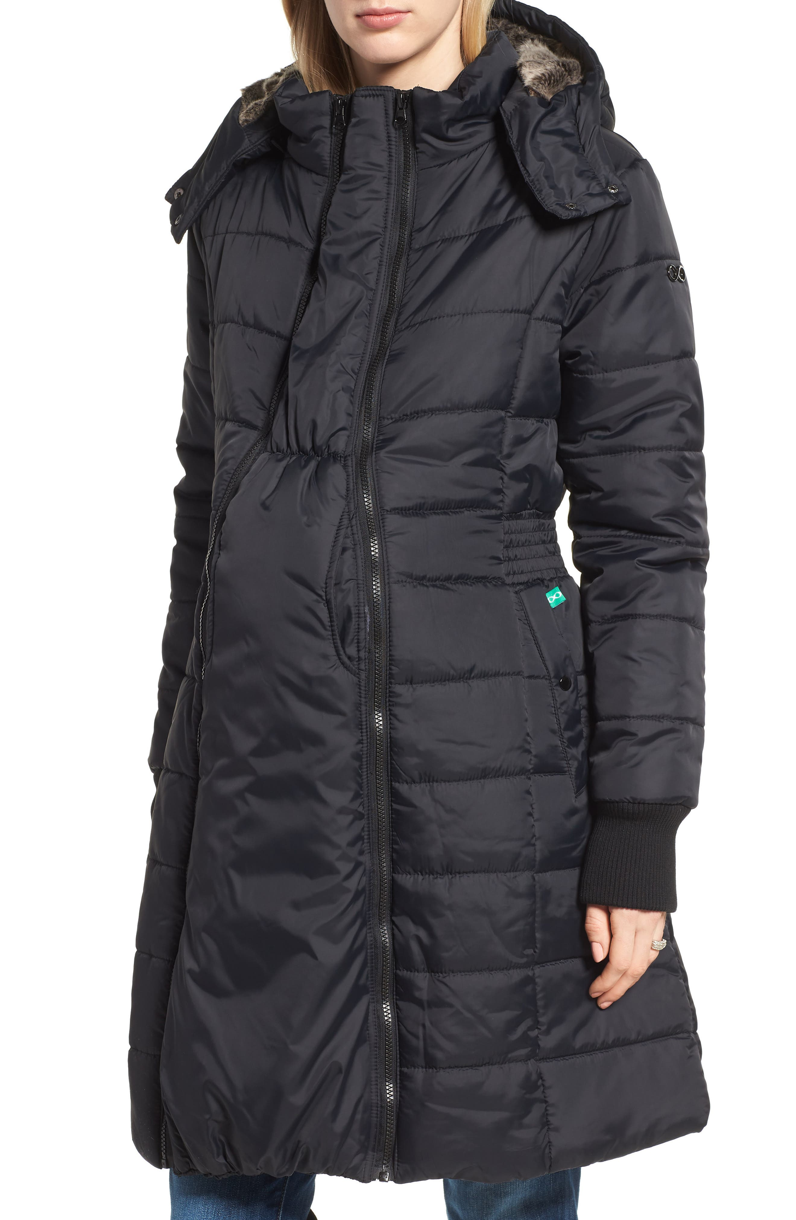 Main Image - Modern Eternity Madison Quilted Maternity Puffer Coat with Faux Fur Trim