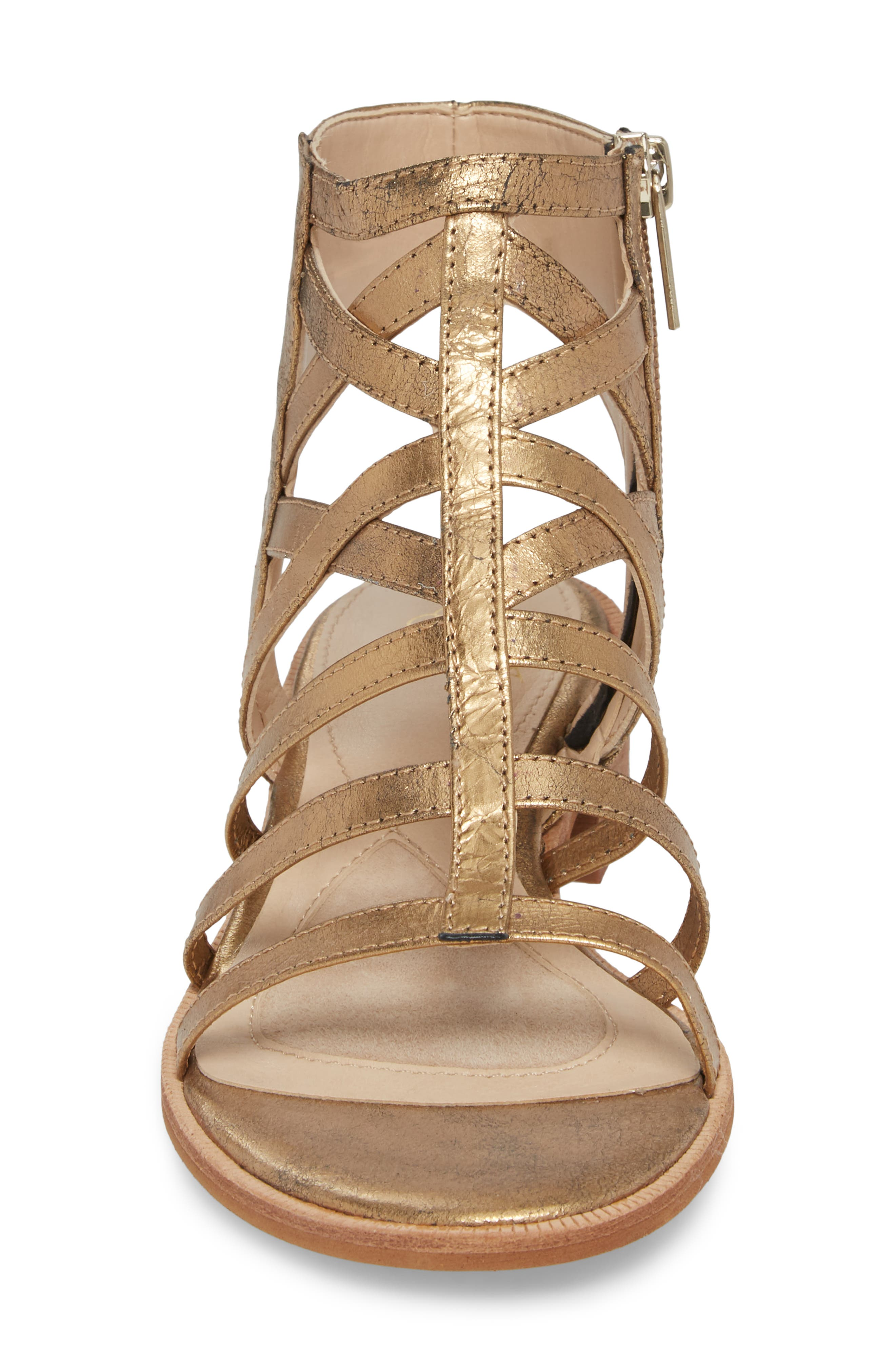 Genesis Cage Sandal,                             Alternate thumbnail 4, color,                             Old Gold Leather