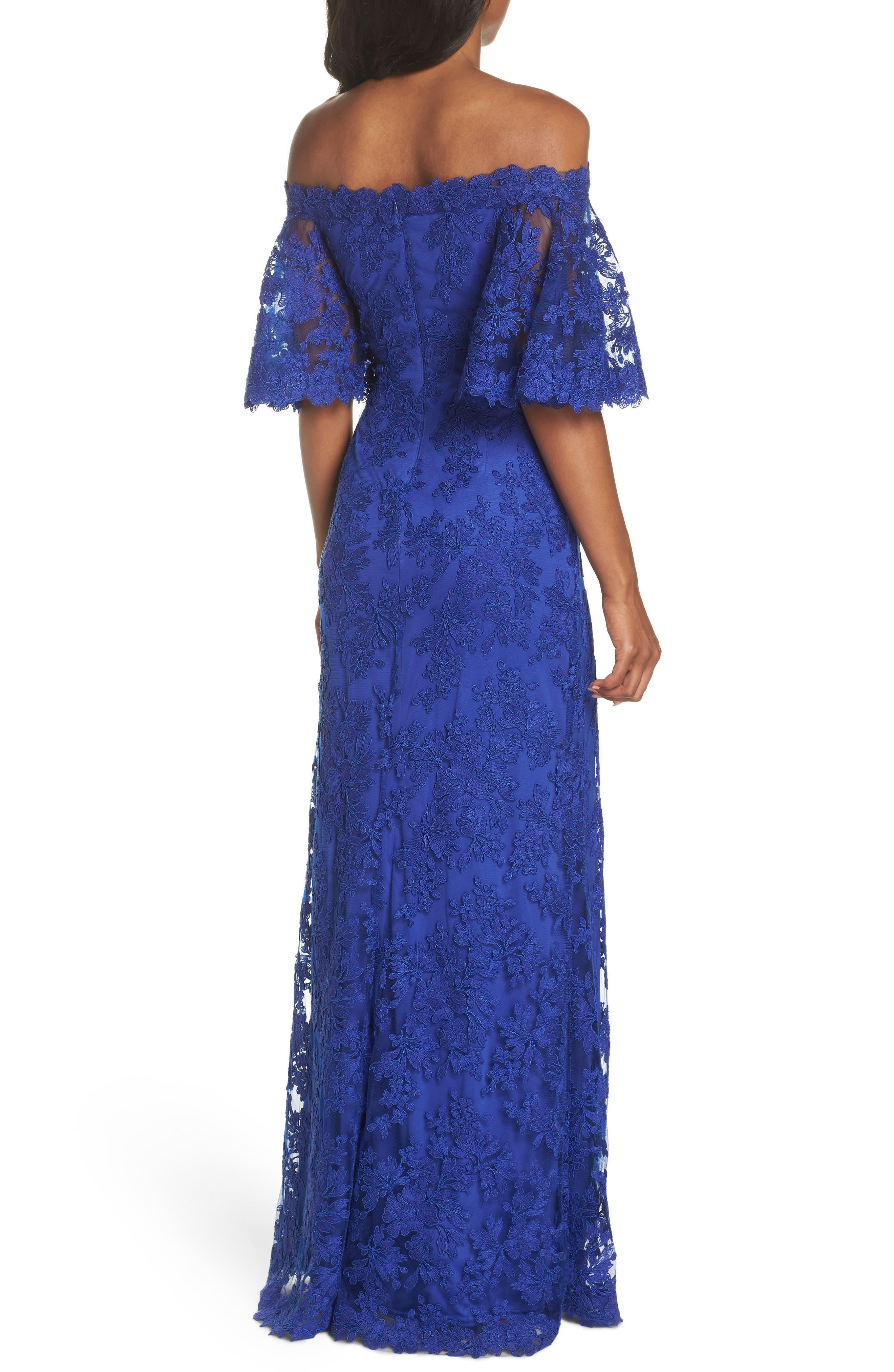 Off the Shoulder Lace Gown,                             Alternate thumbnail 2, color,                             Royal Iris