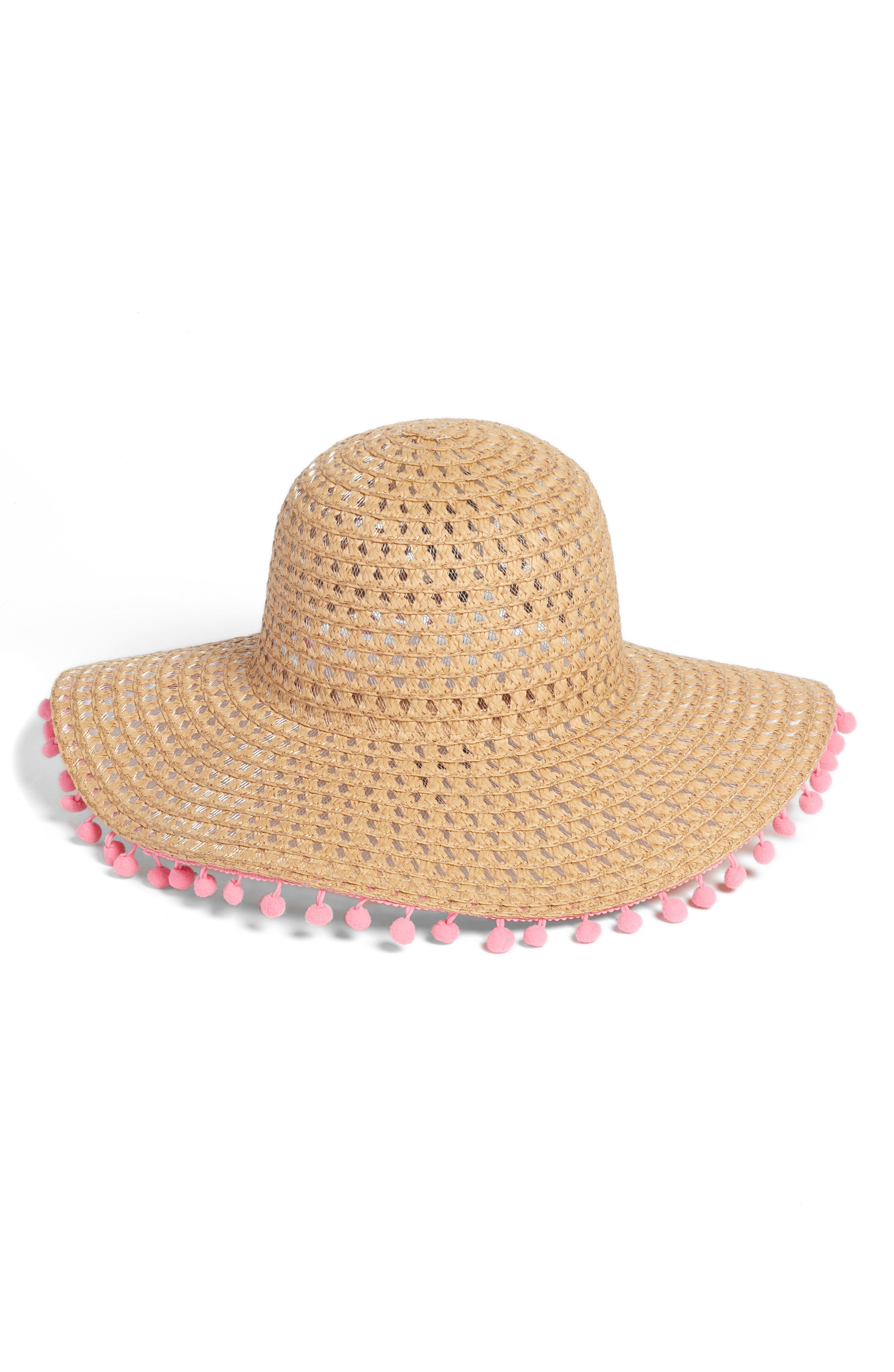 Pompom Trim Floppy Straw Hat,                             Main thumbnail 1, color,                             Natural/ Pink