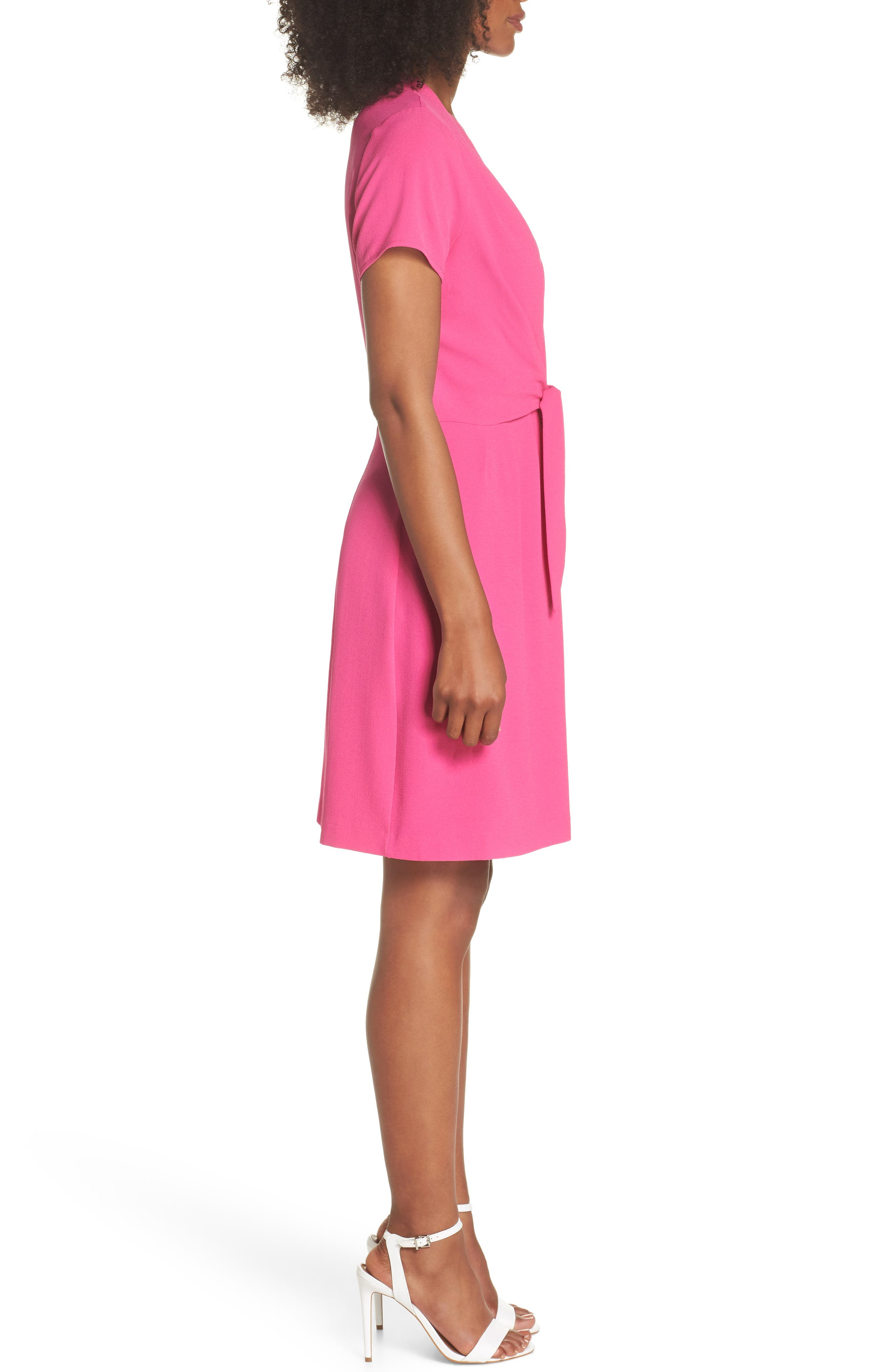 Tie Front Sheath Dress,                             Alternate thumbnail 3, color,                             Hot Pink