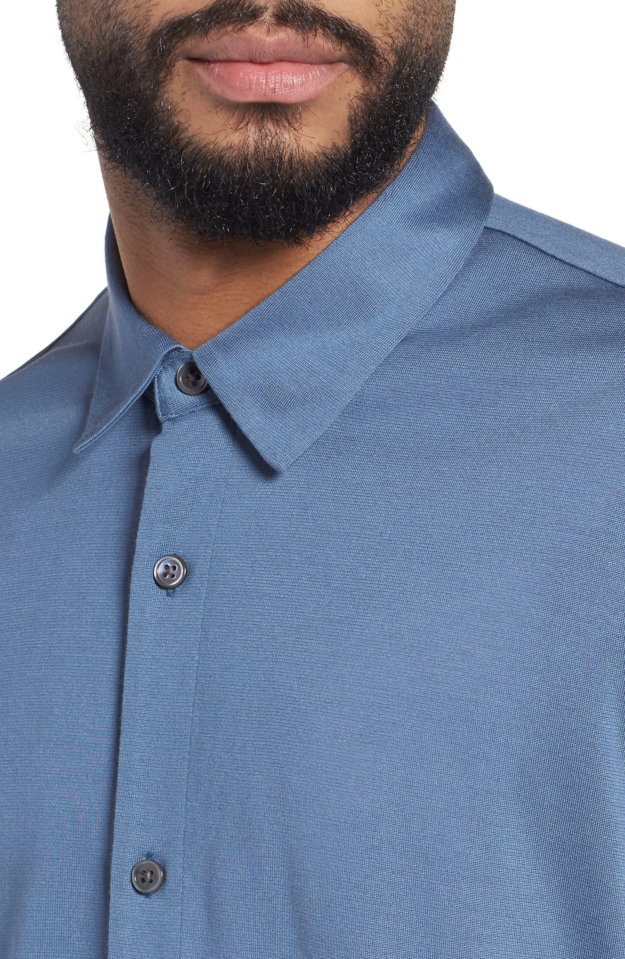 Incisive Silk & Cotton Short Sleeve Sport Shirt,                             Alternate thumbnail 4, color,                             Iris