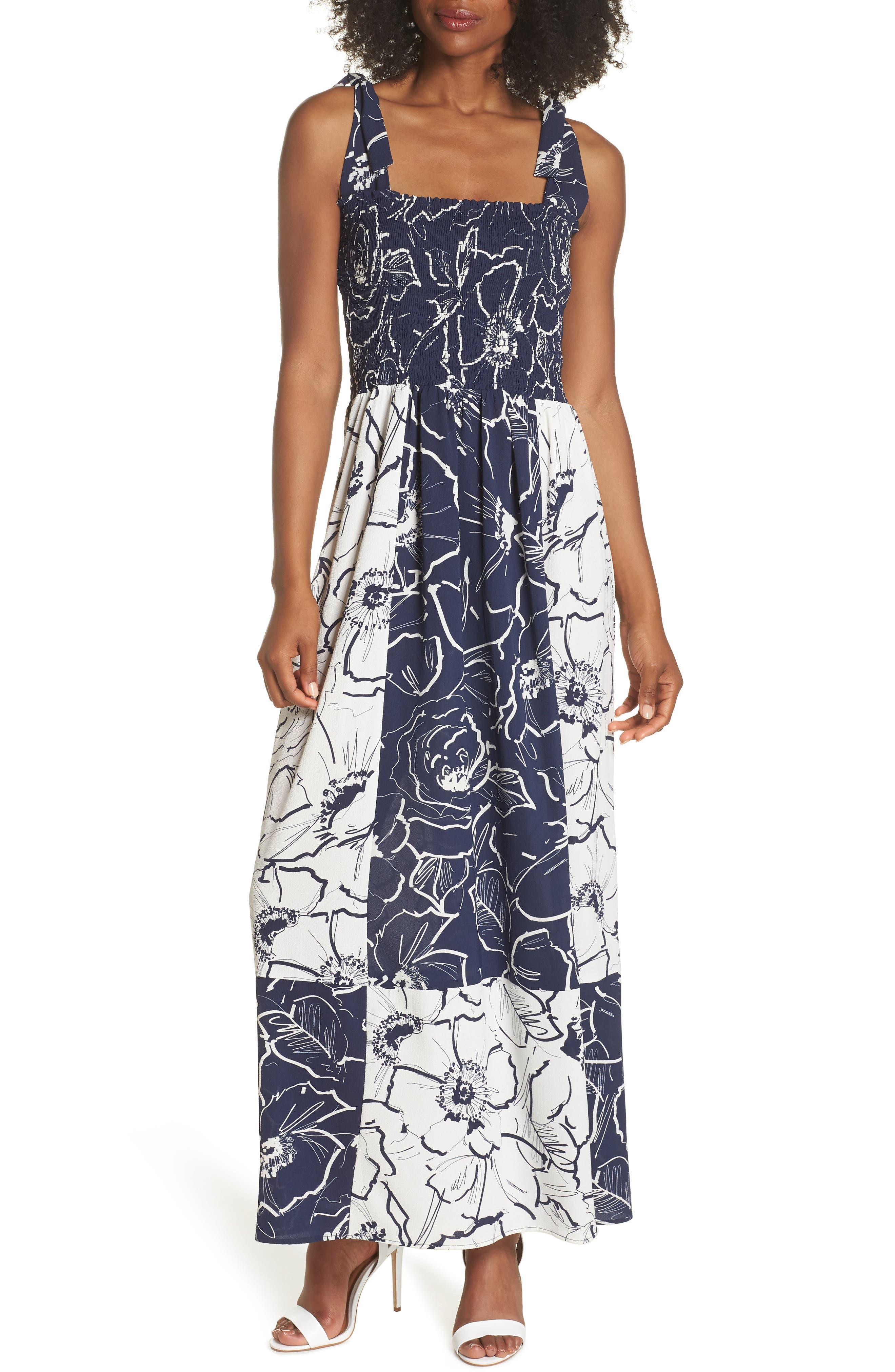 Gabby Skye Colorblock Tie Strap Maxi Dress