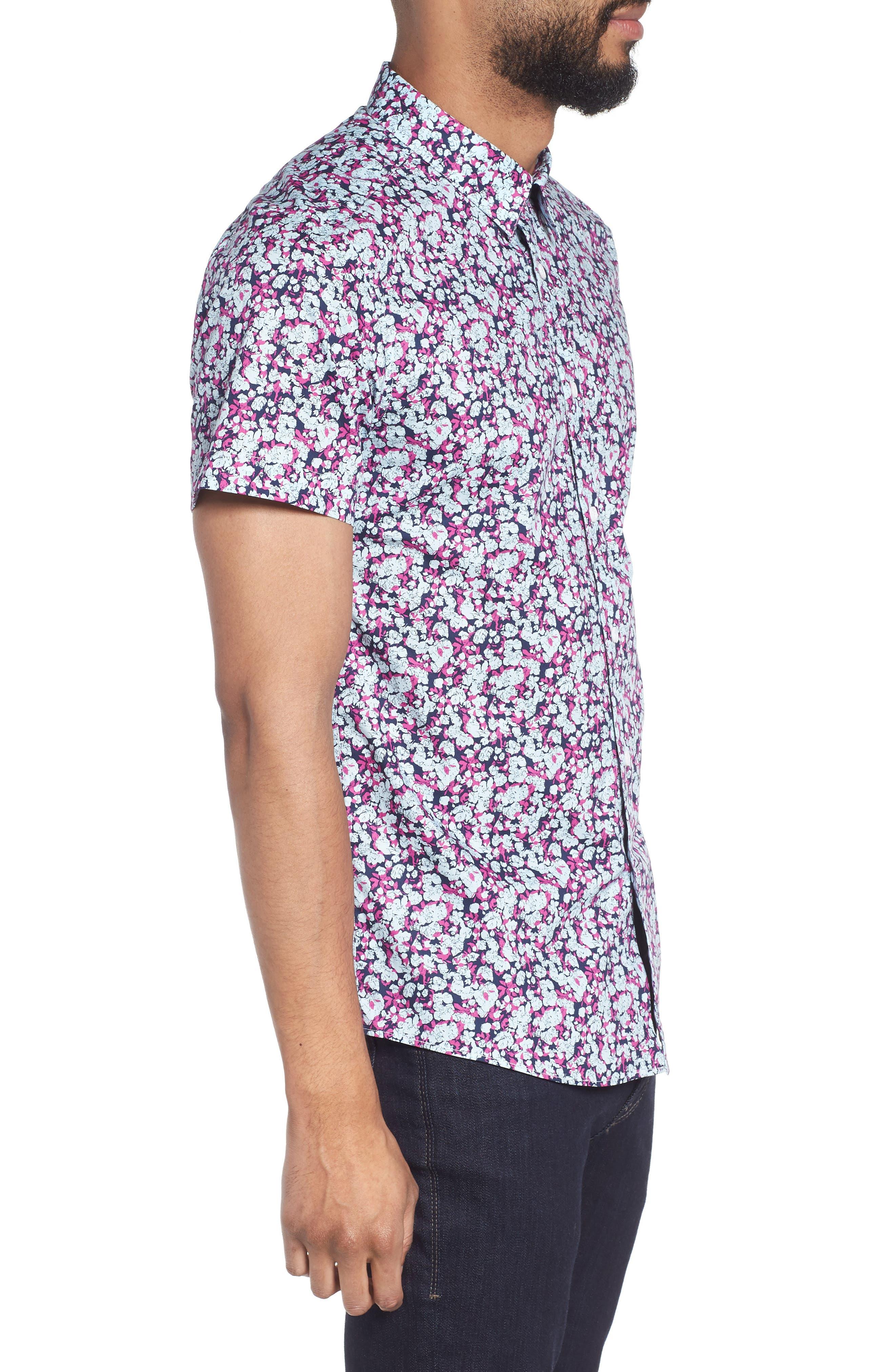 Print Woven Short Sleeve Shirt,                             Alternate thumbnail 3, color,                             Pink Navy