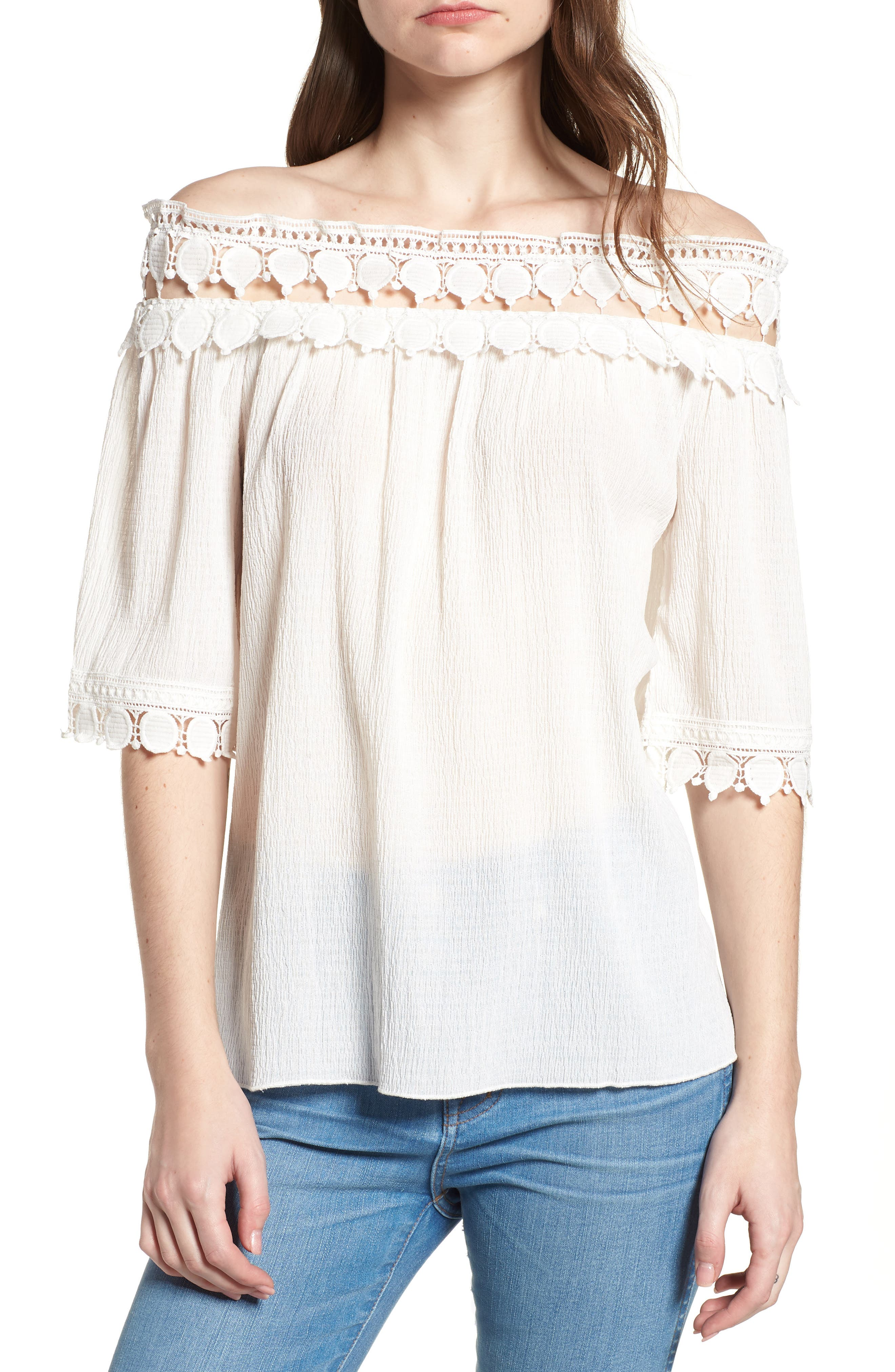 Bishop + Young Olivia Crochet Trim Off the Shoulder Top,                             Main thumbnail 1, color,                             White