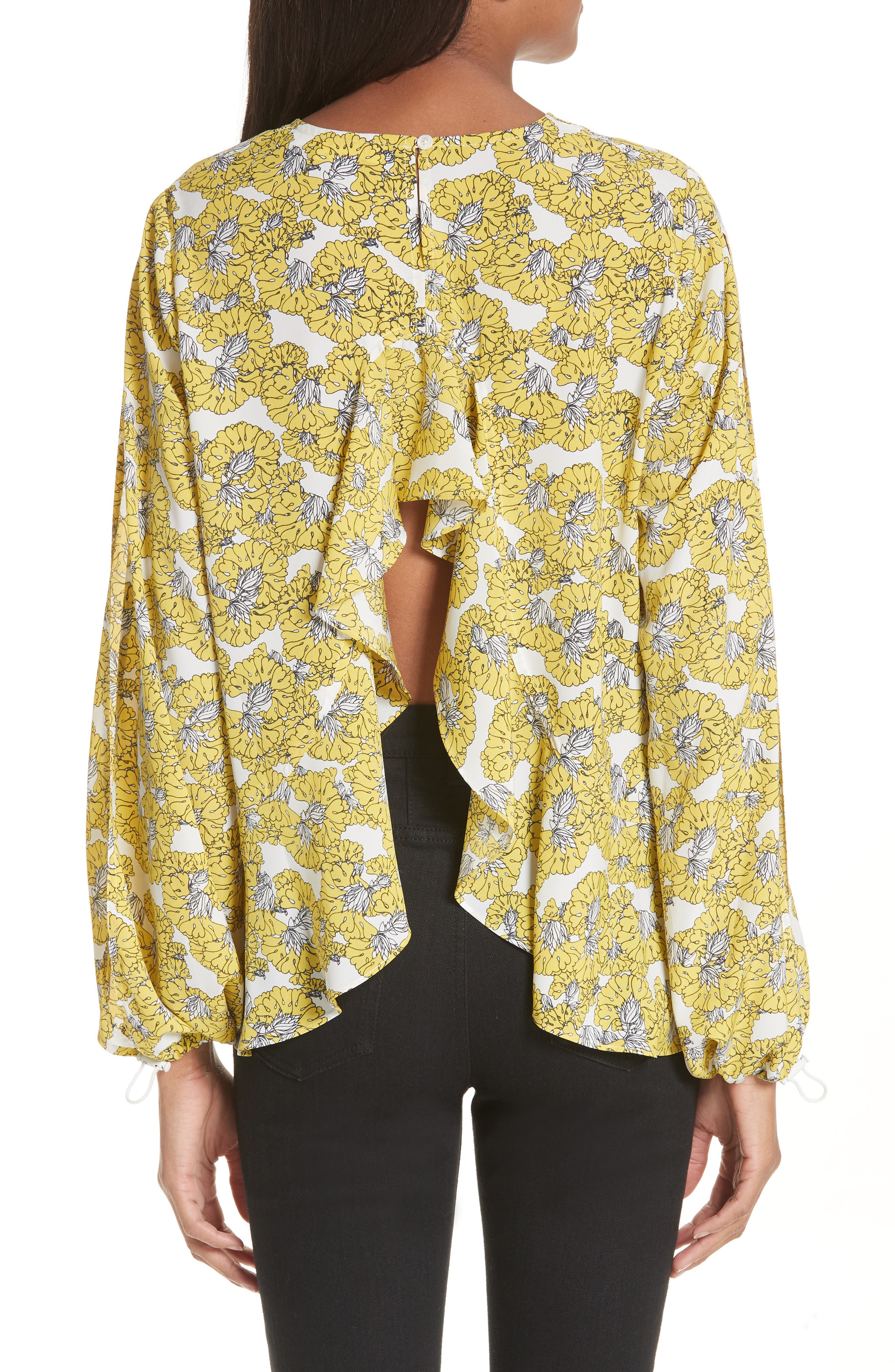 Floral Print Ruffle Back Top,                             Alternate thumbnail 2, color,                             Yellow Floral