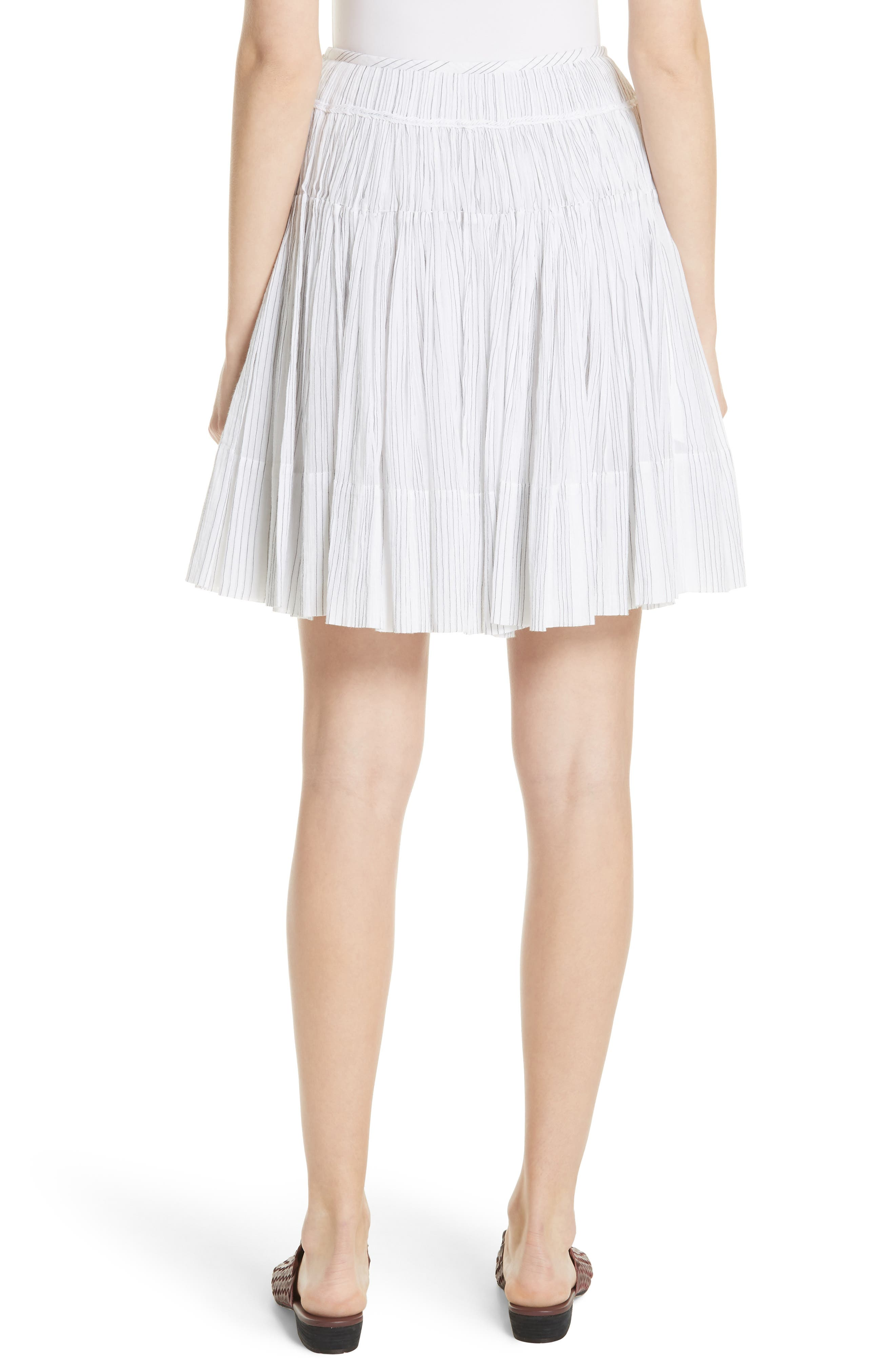 Variegated Stripe Pleat Skirt,                             Alternate thumbnail 2, color,                             Optic White/ Black
