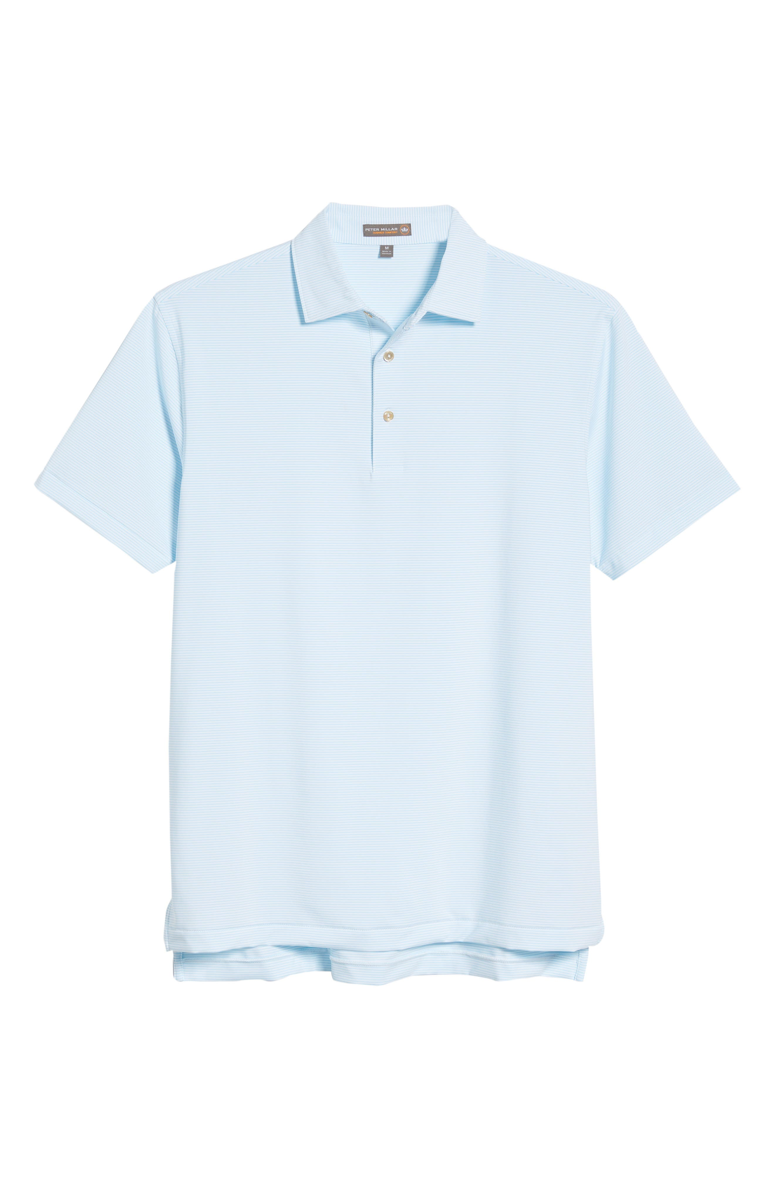 Halford Stripe Stretch Jersey Polo,                             Alternate thumbnail 6, color,                             White/ Grotto Blue