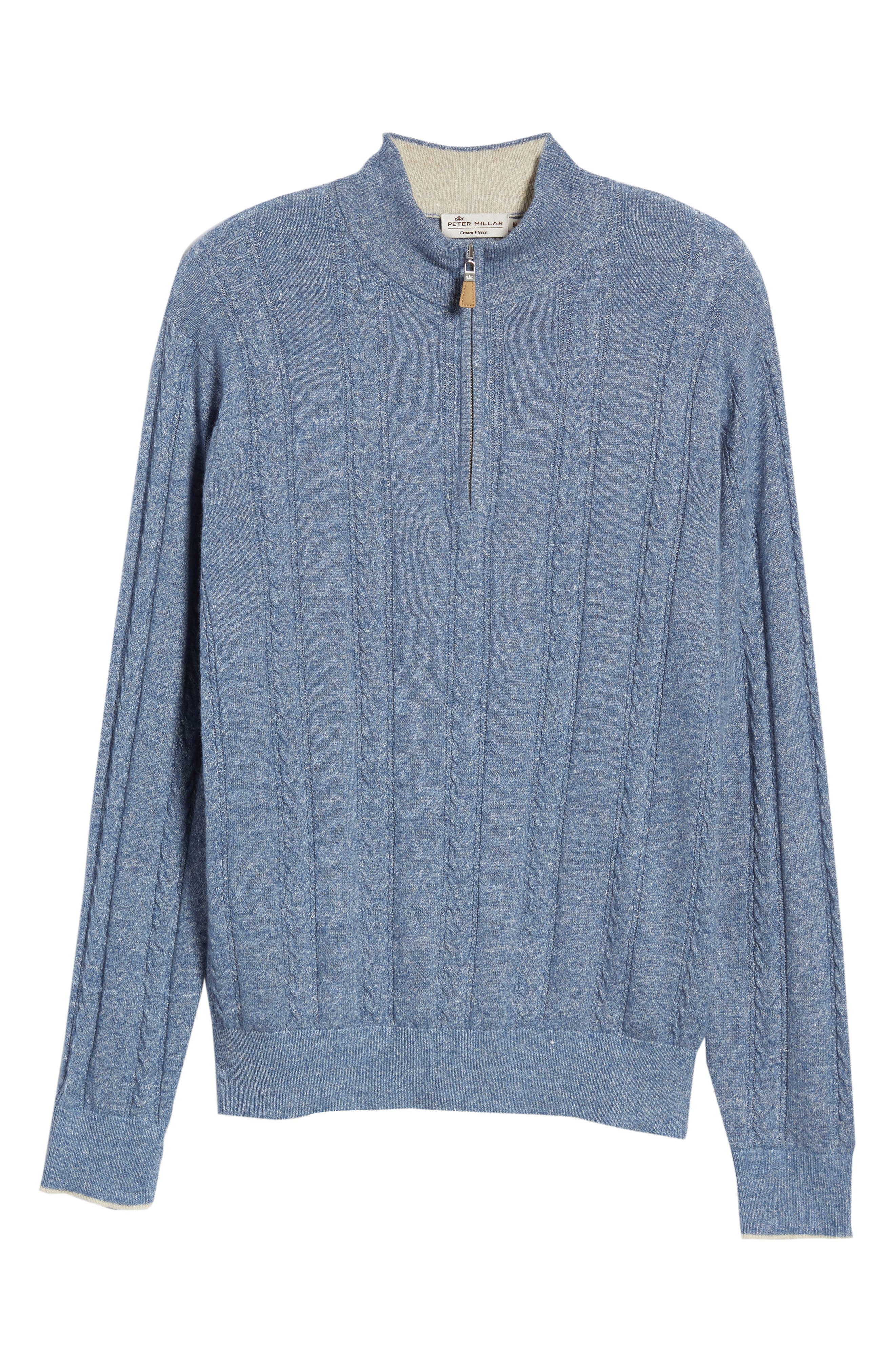 Crown Fleece Cashmere & Linen Quarter Zip Sweater,                             Alternate thumbnail 6, color,                             Atlas Blue