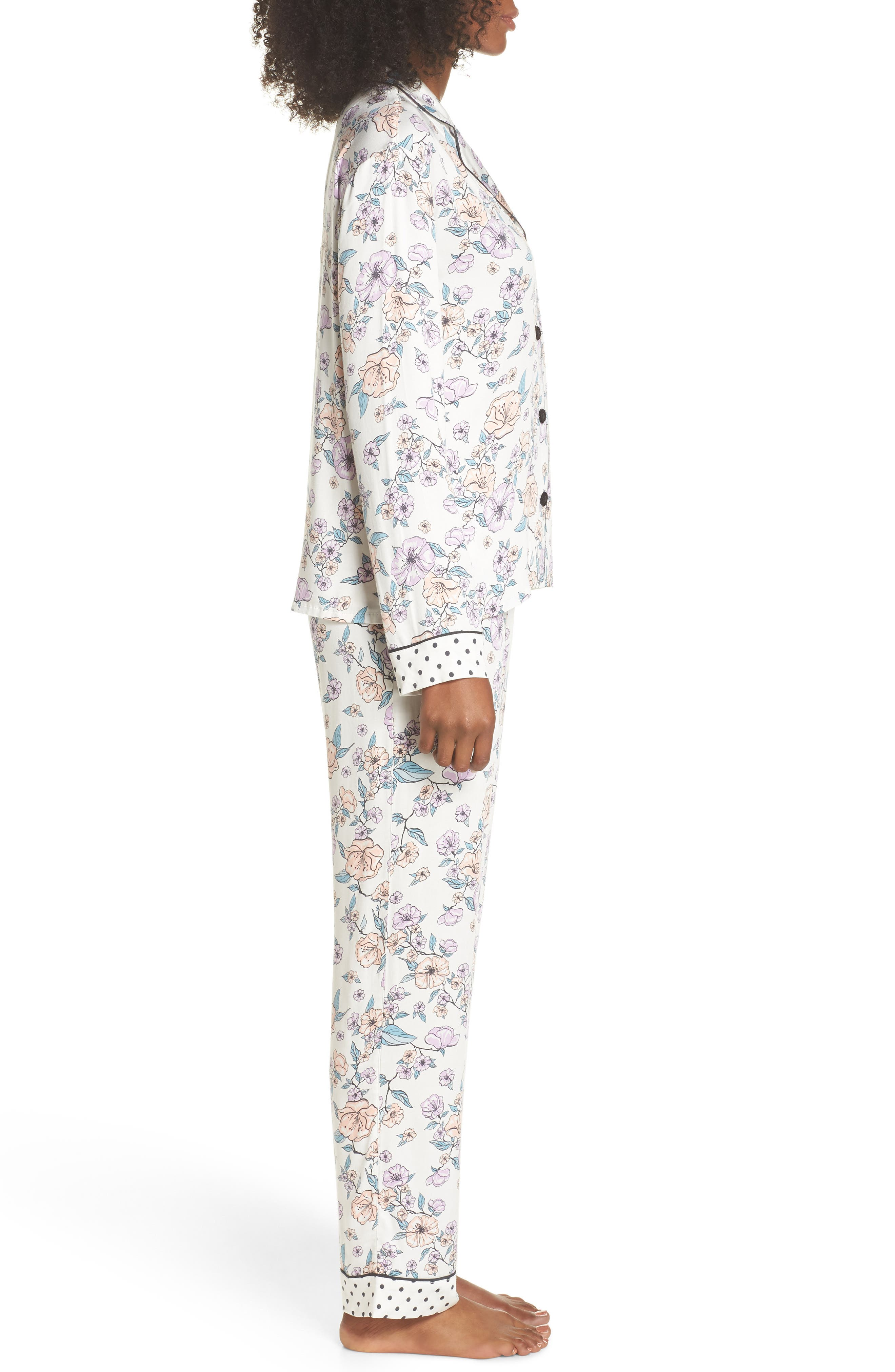 Floral Print Pajamas,                             Alternate thumbnail 3, color,                             Natural