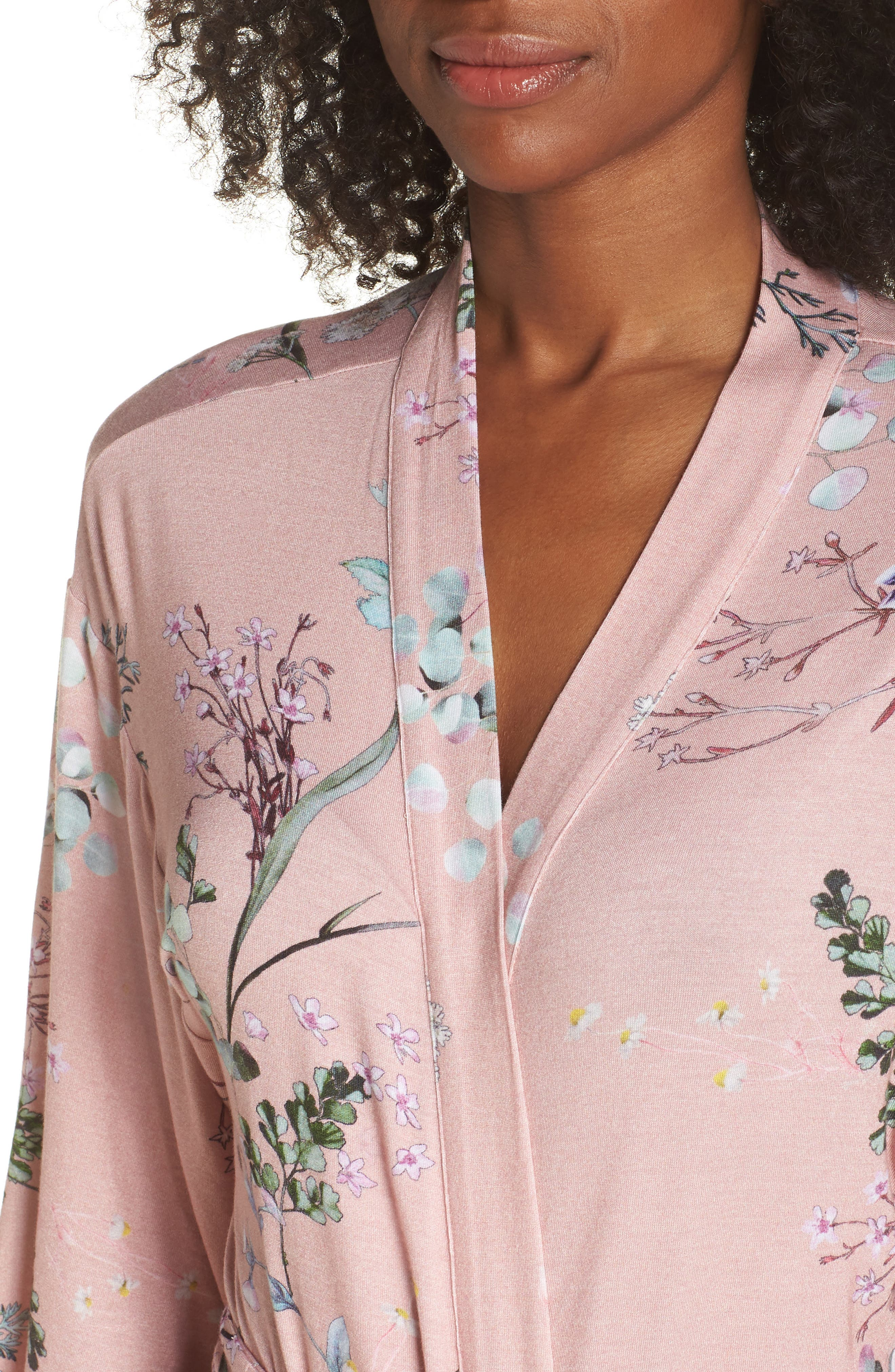 Floral Print Robe,                             Alternate thumbnail 5, color,                             Terra Cota