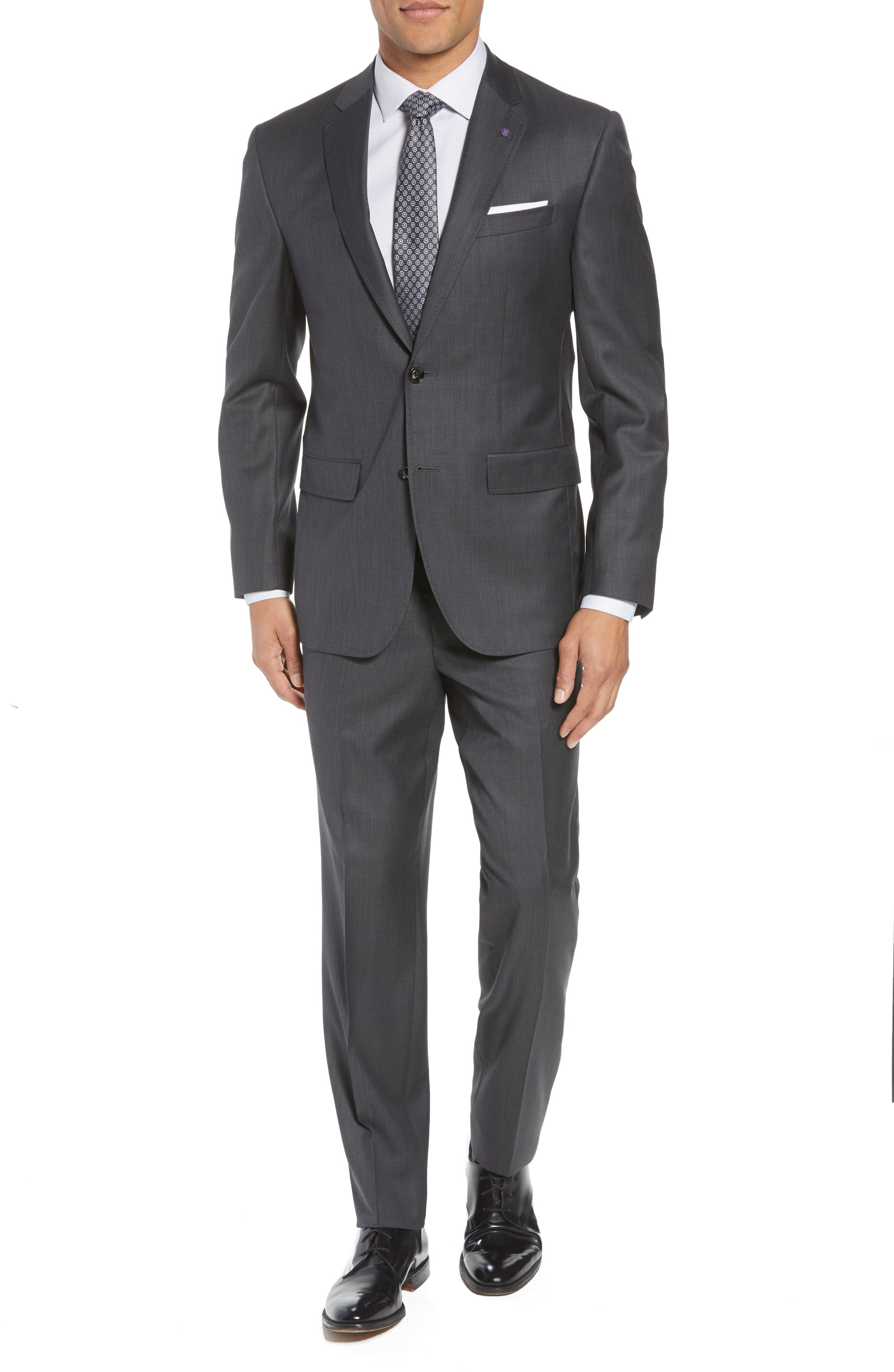 'Jay' Trim Fit Solid Wool Suit,                             Main thumbnail 1, color,                             Charcoal