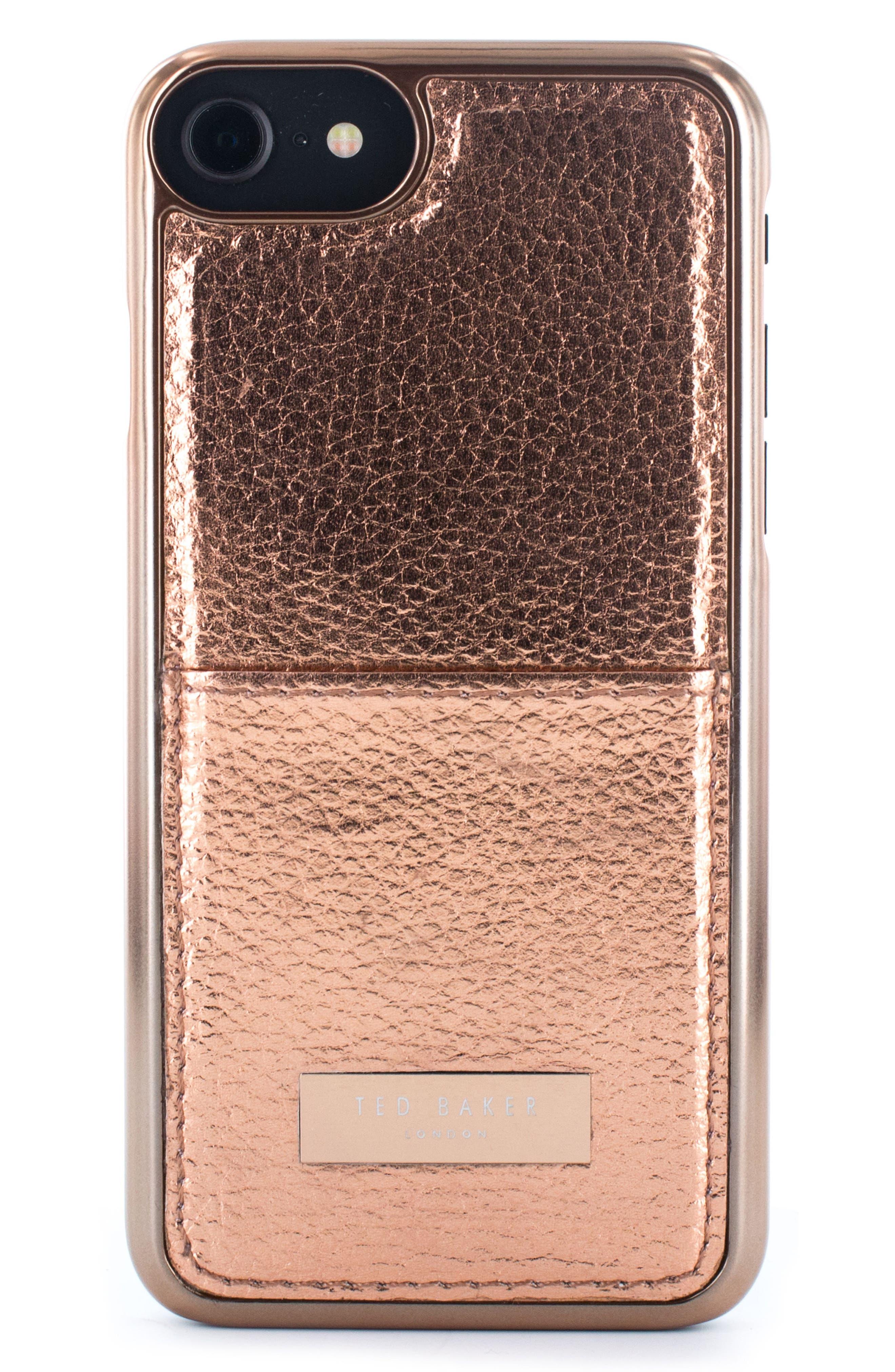 Korrii Cardholder iPhone 7/8 Case,                             Main thumbnail 1, color,                             Rose Gold