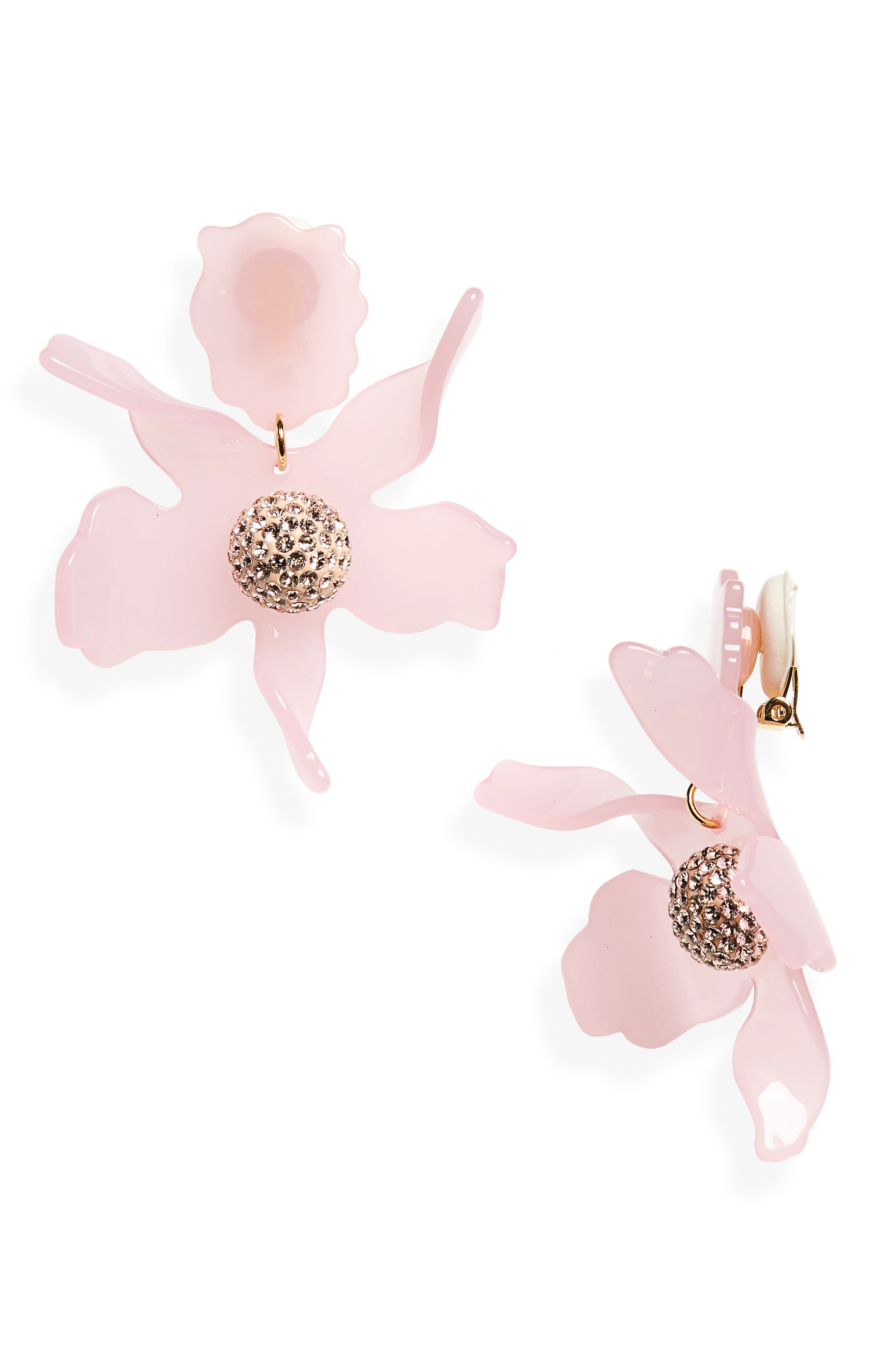 Crystal Lily Clip Earrings,                             Main thumbnail 1, color,                             Rose Hip