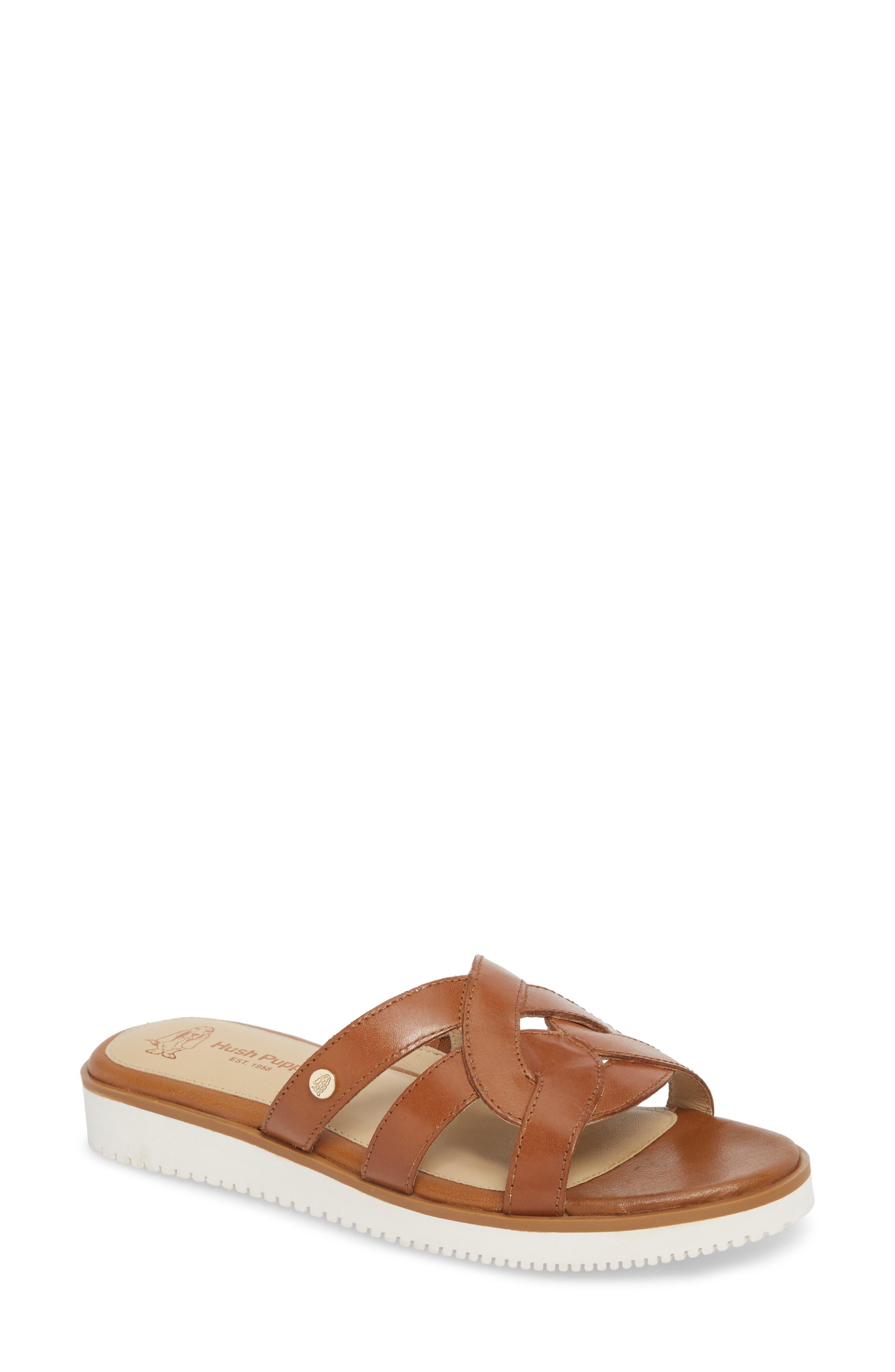 Braid Slide Sandal,                             Main thumbnail 1, color,                             Tan Leather