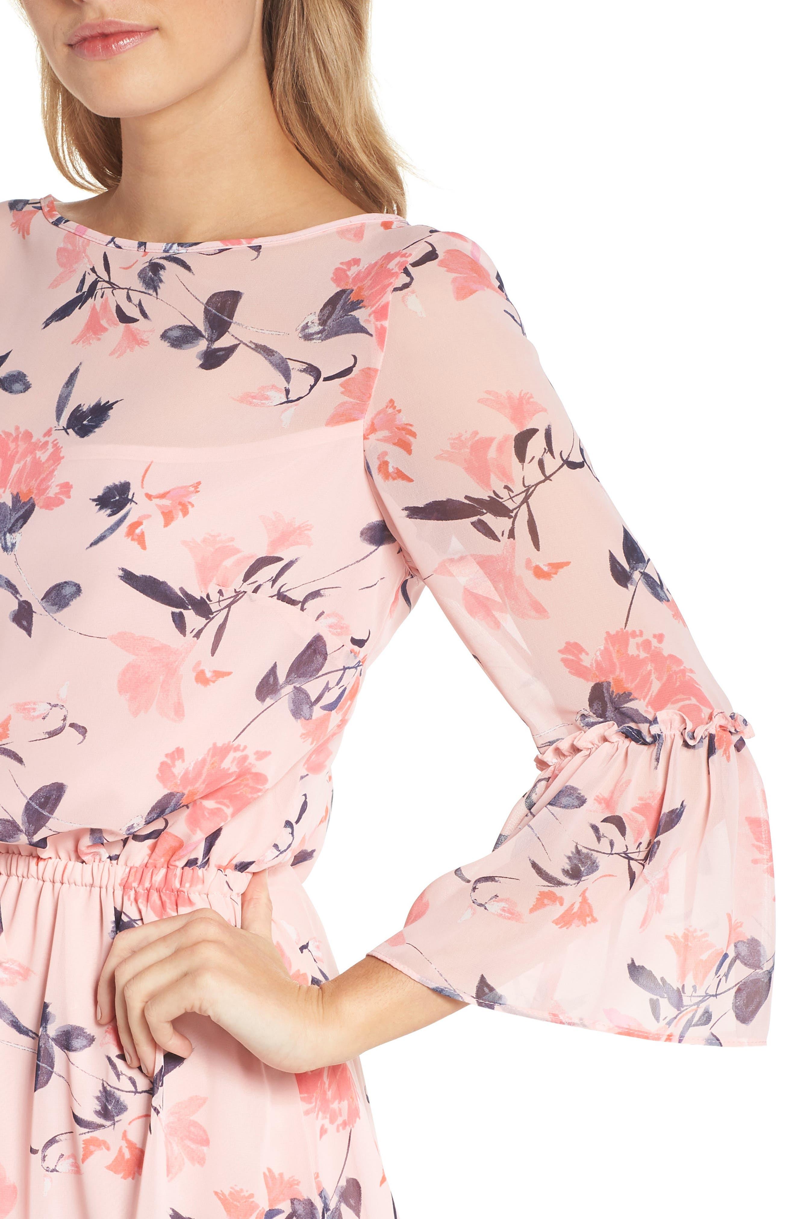 Floral Bell Sleeve Chiffon Dress,                             Alternate thumbnail 4, color,                             Blush