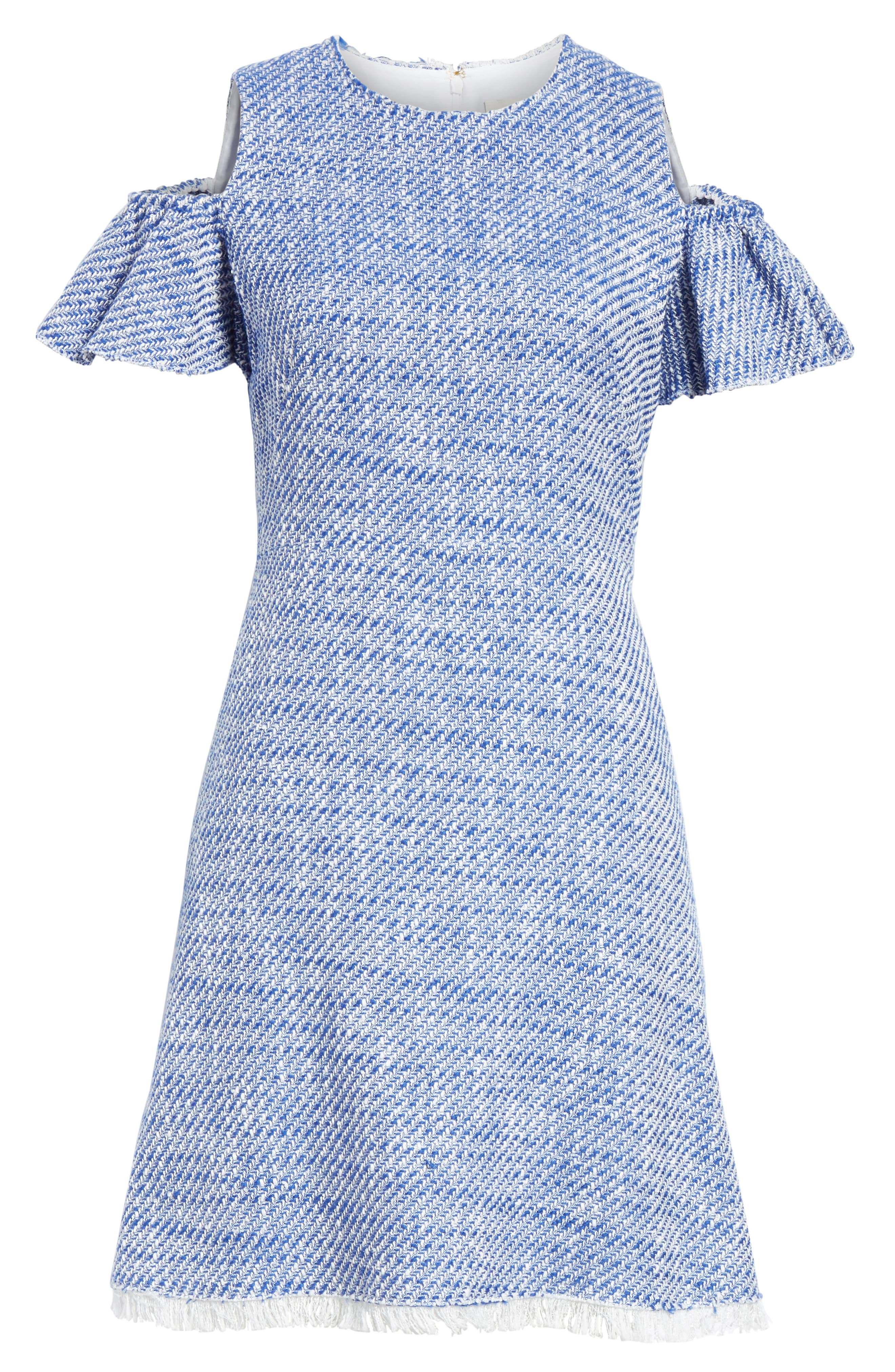 cold shoulder cotton blend tweed dress,                             Alternate thumbnail 6, color,                             French Navy/ Fresh White