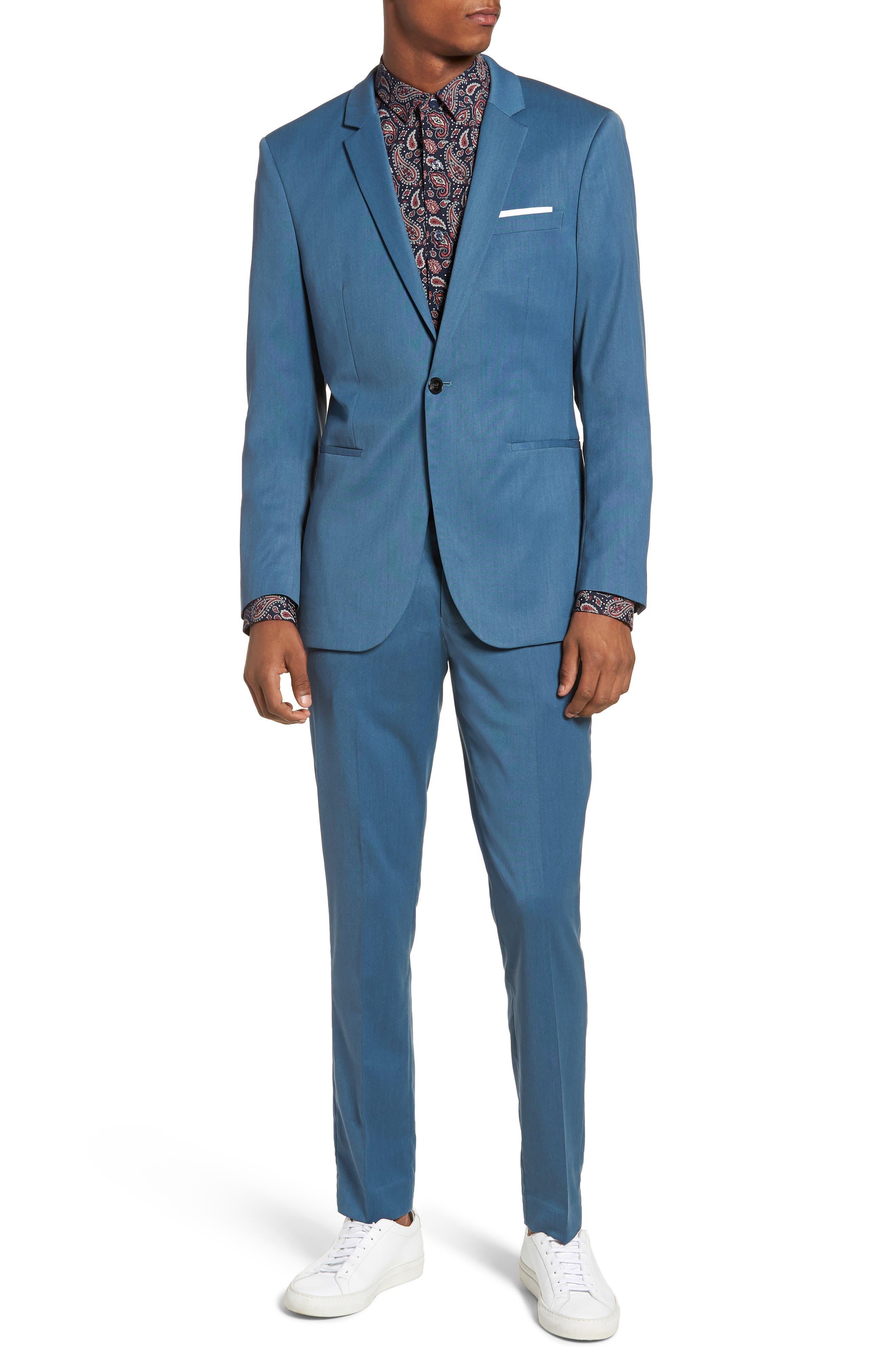 Skinny Fit Suit Trousers,                             Alternate thumbnail 7, color,                             Light Blue