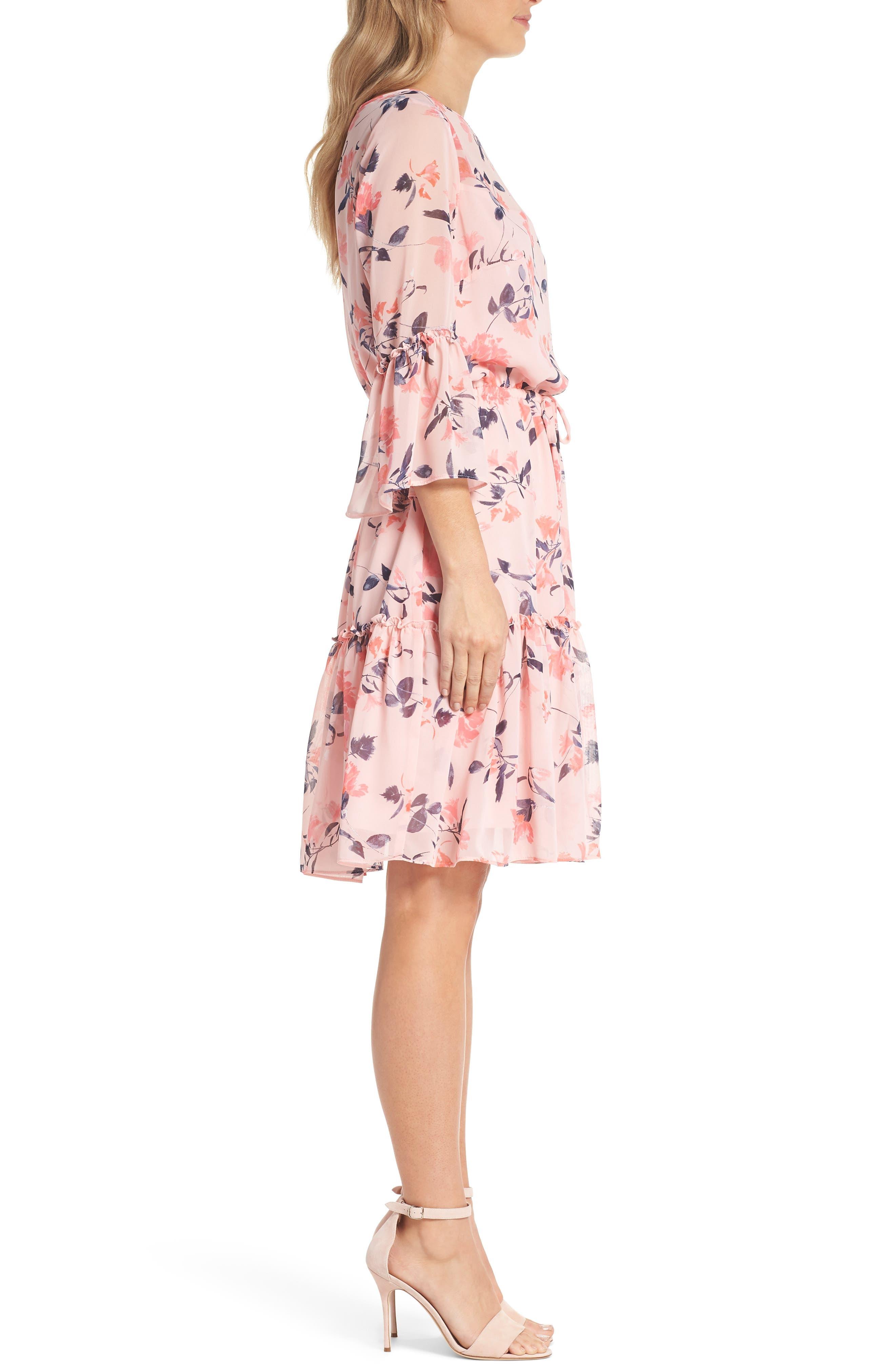Floral Bell Sleeve Chiffon Dress,                             Alternate thumbnail 3, color,                             Blush