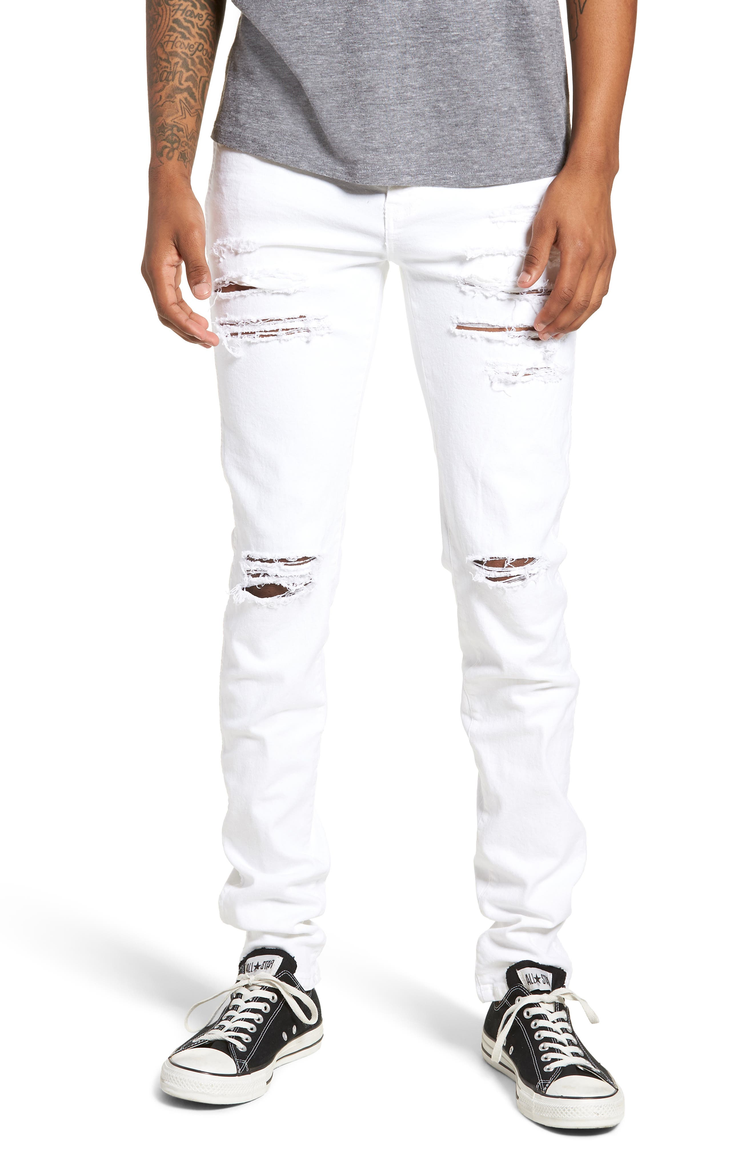 Snap Skinny Fit Jeans,                             Main thumbnail 1, color,                             White Ripped