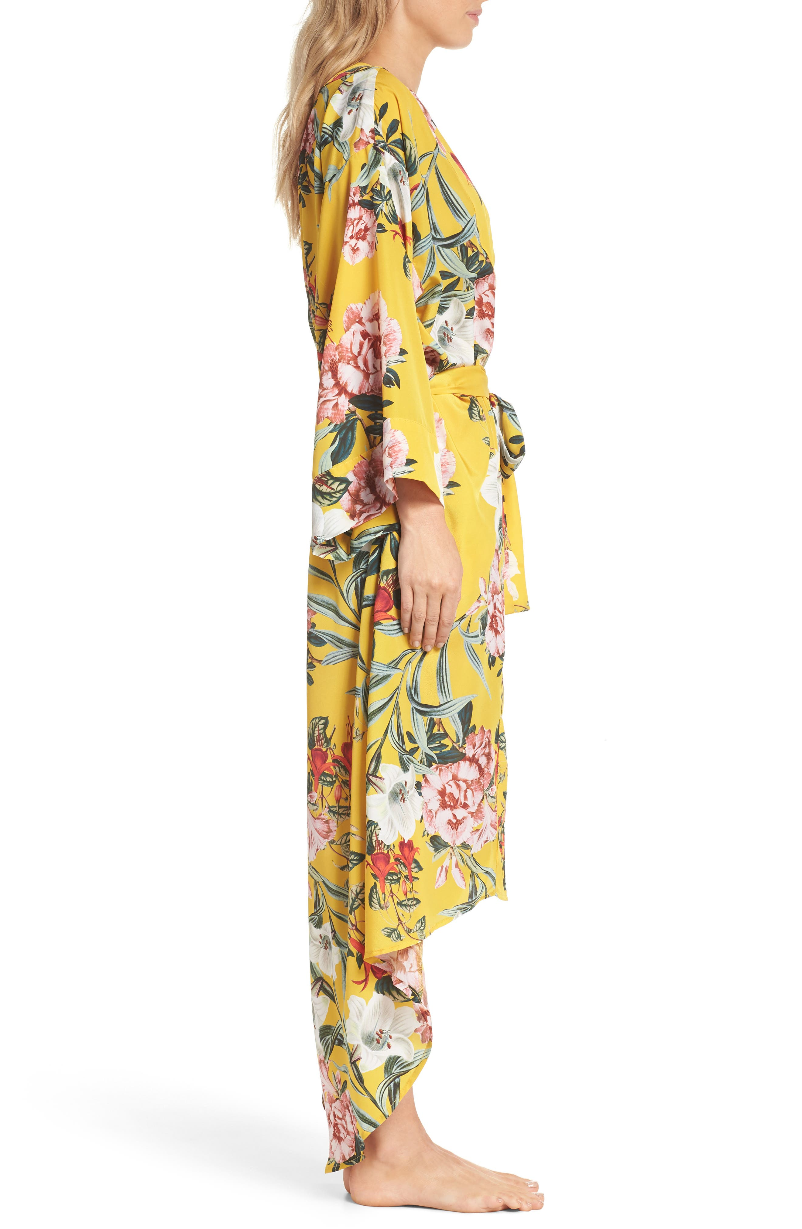 Isabella High/Low Robe,                             Alternate thumbnail 3, color,                             Marigold Floral