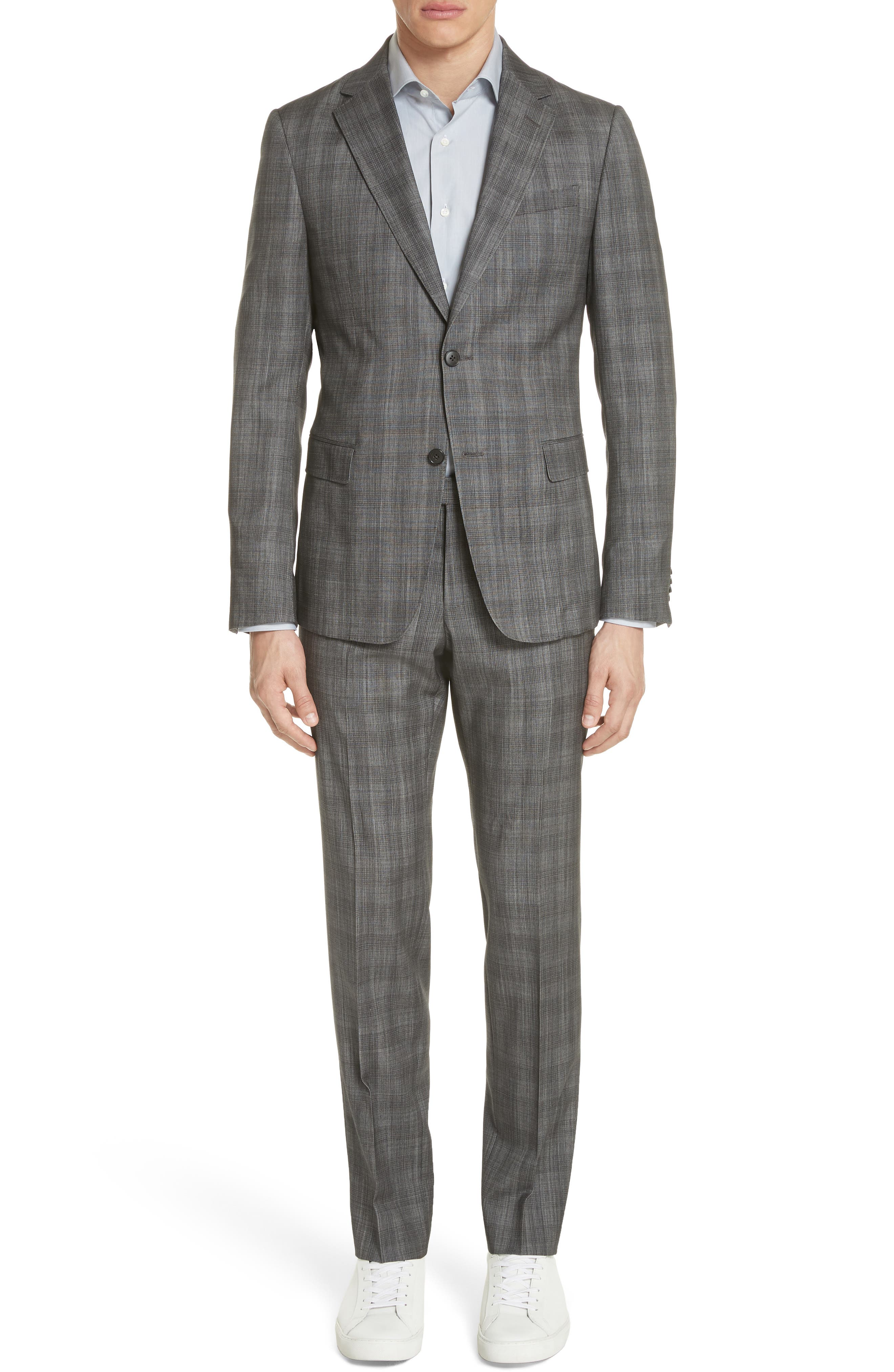 Classic Fit Plaid Wool & Silk Suit,                         Main,                         color, Dark Grey Check