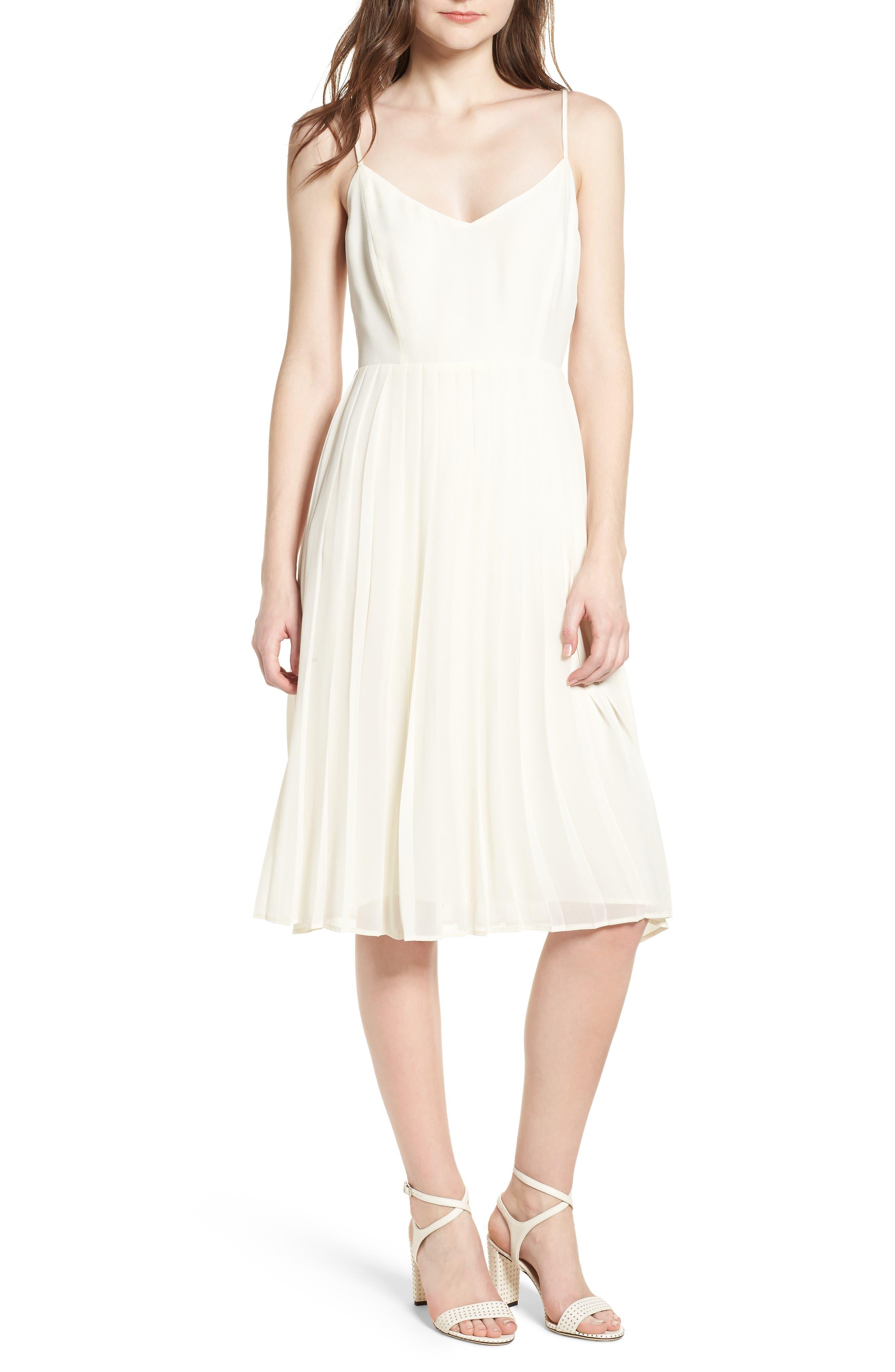 Deena Pleated Dress,                         Main,                         color, Ivory