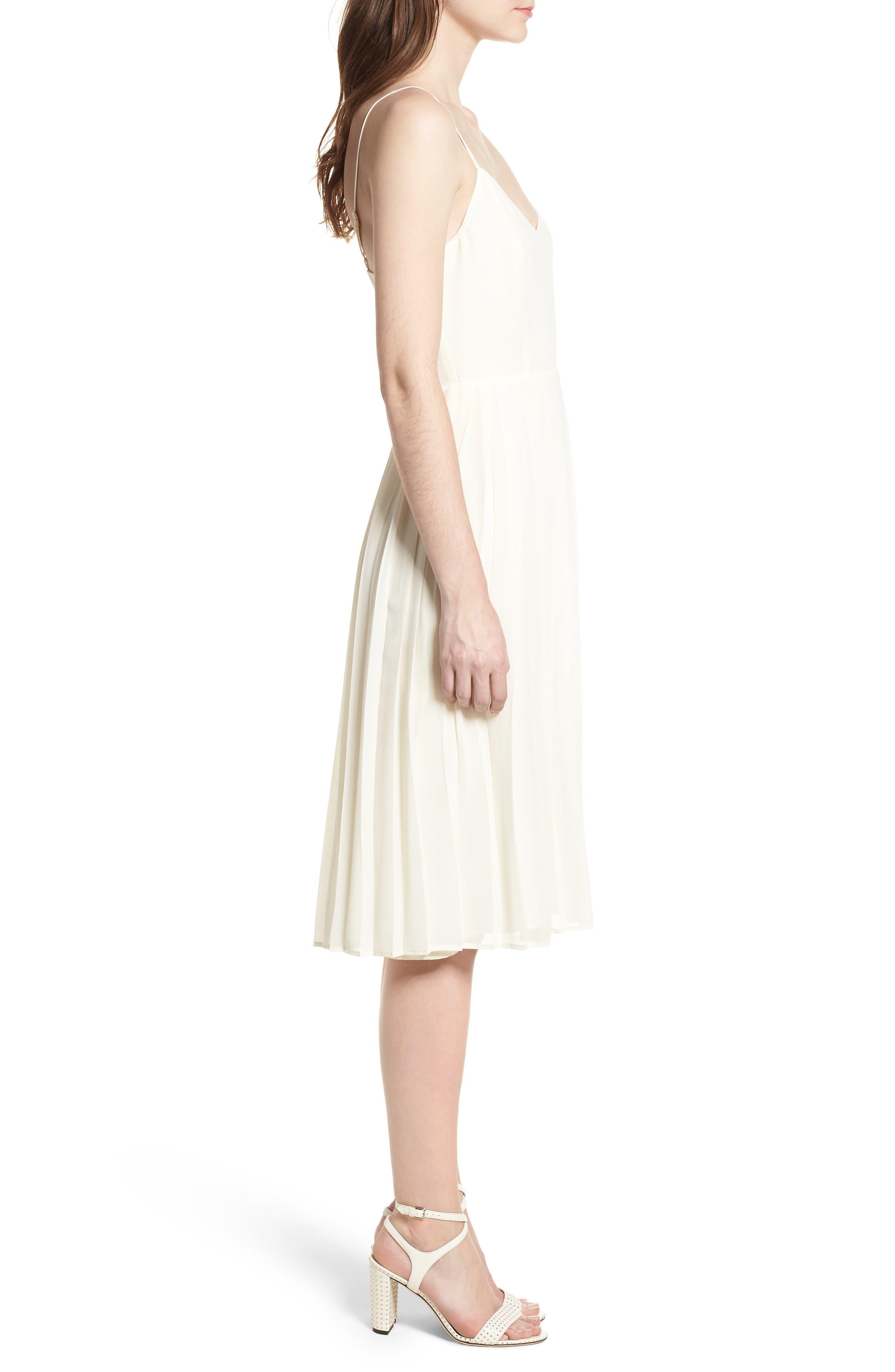 Deena Pleated Dress,                             Alternate thumbnail 3, color,                             Ivory