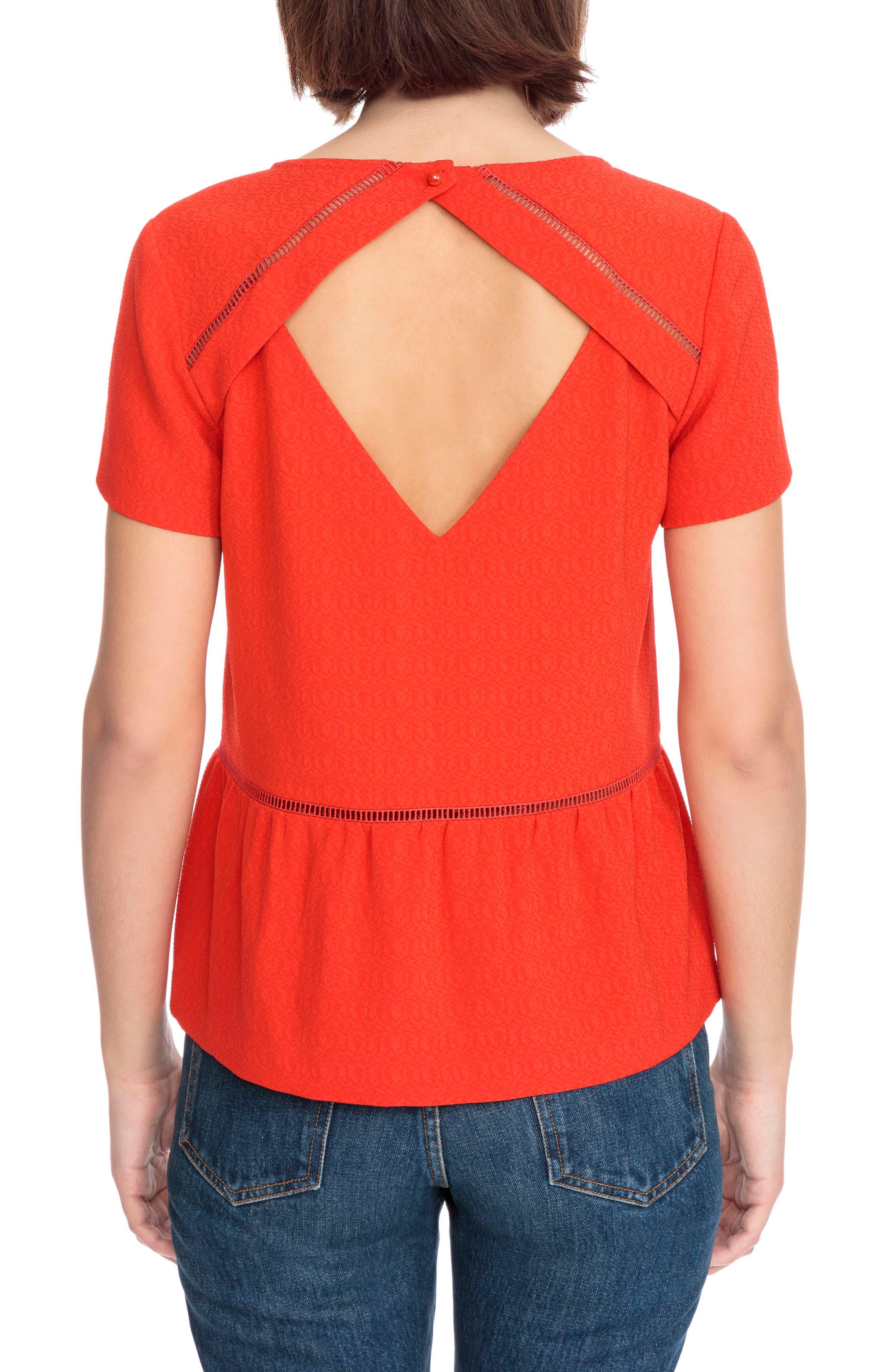 Amanda Ladder Stitch Blouse,                             Alternate thumbnail 2, color,                             Coral Red