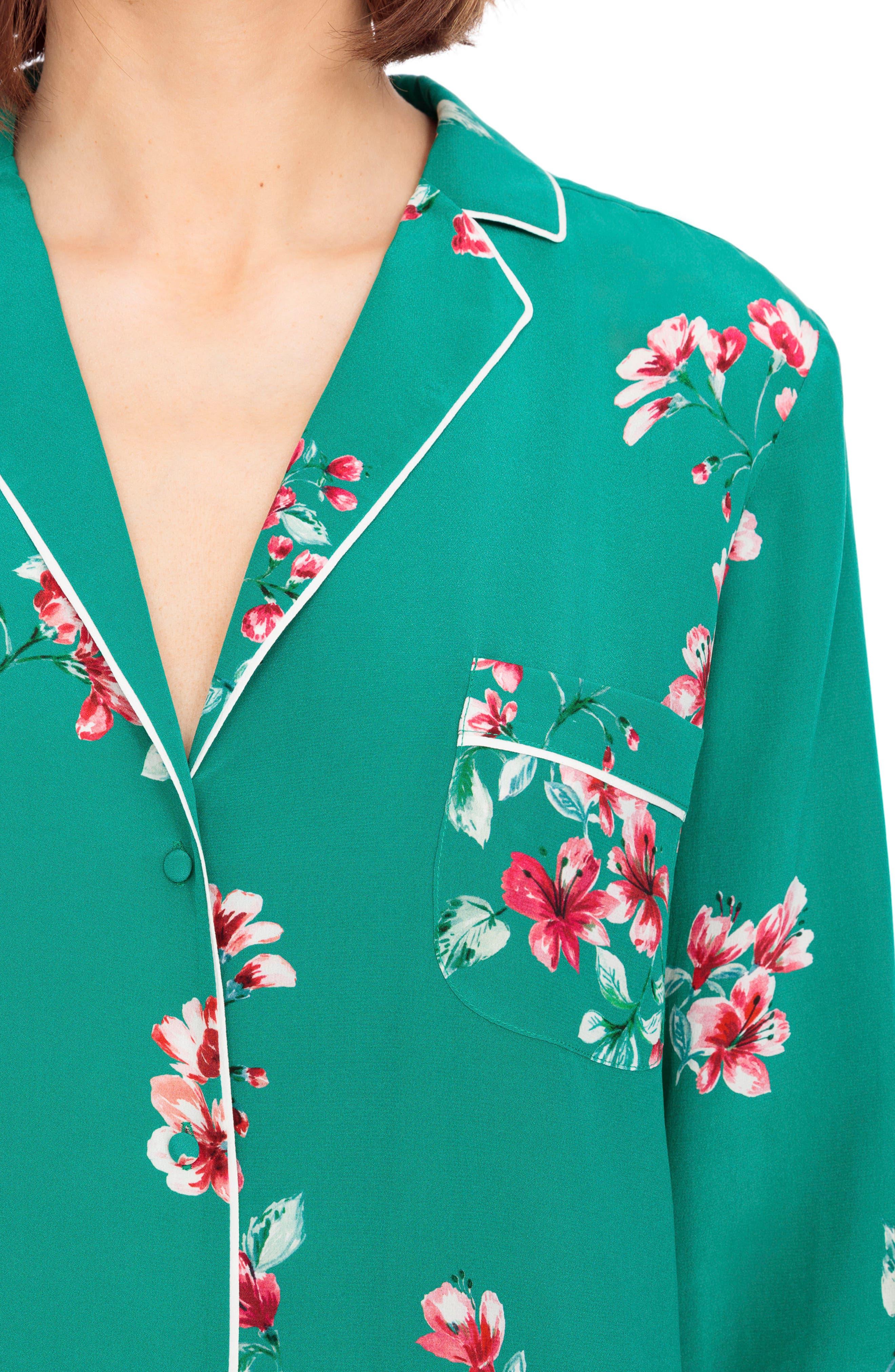 Elisa Floral Silk Pajama Shirt,                             Alternate thumbnail 5, color,                             Bouquet Print On Green