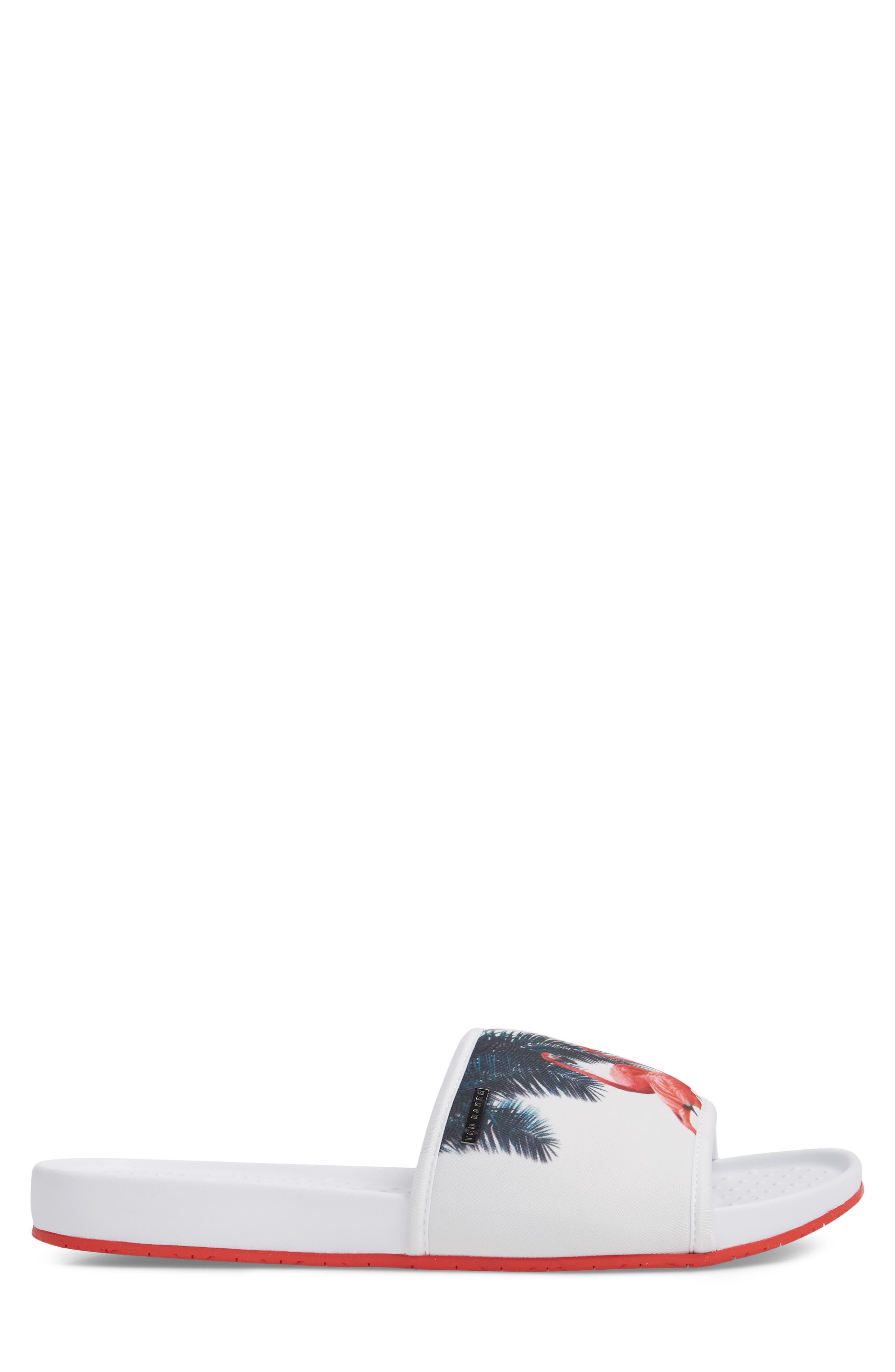 Sauldi 2 Slide Sandal,                             Alternate thumbnail 3, color,                             White/ Red Textile