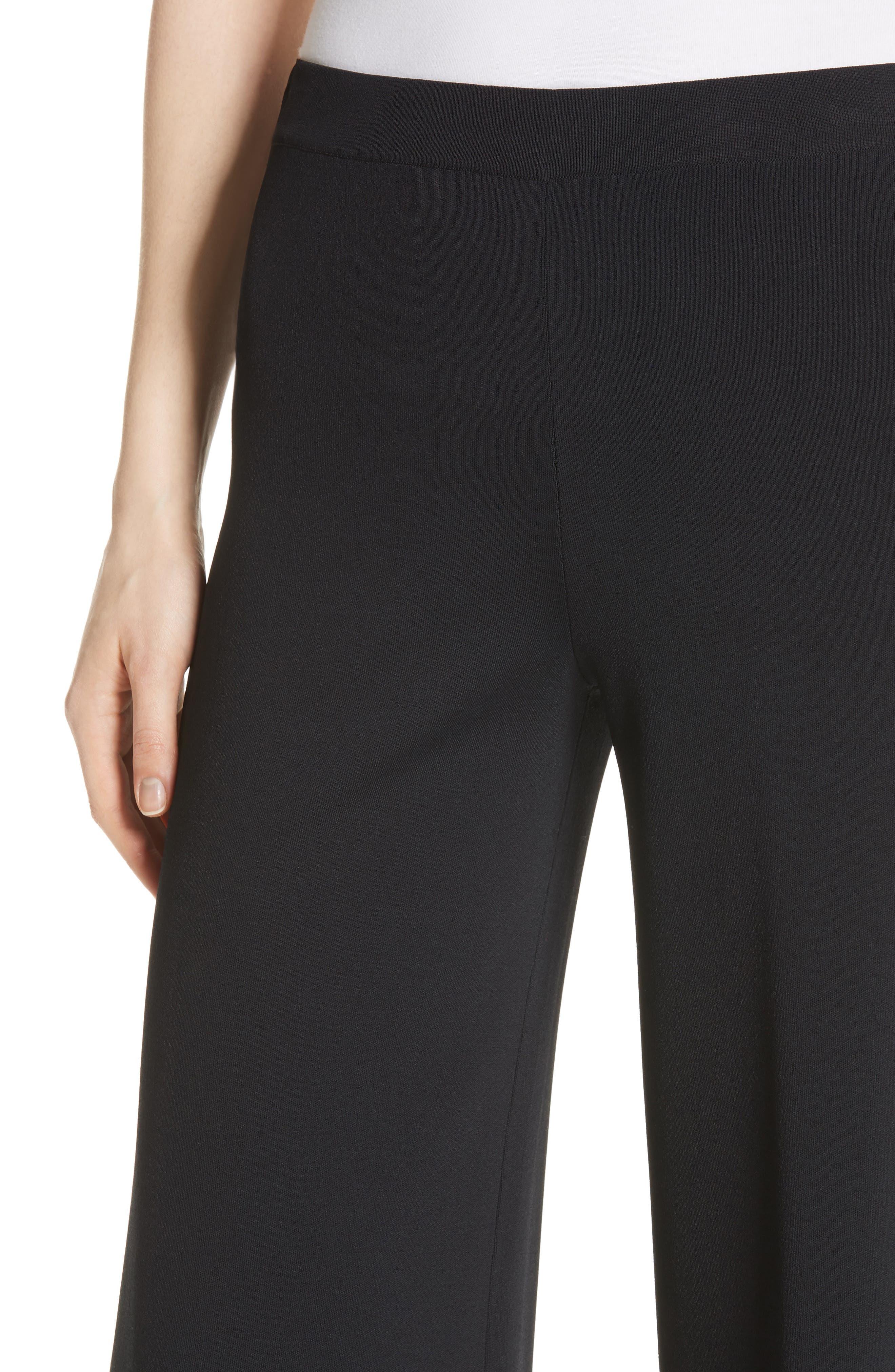 Henriet K Lustrate Wide Leg Crop Pants,                             Alternate thumbnail 4, color,                             Black