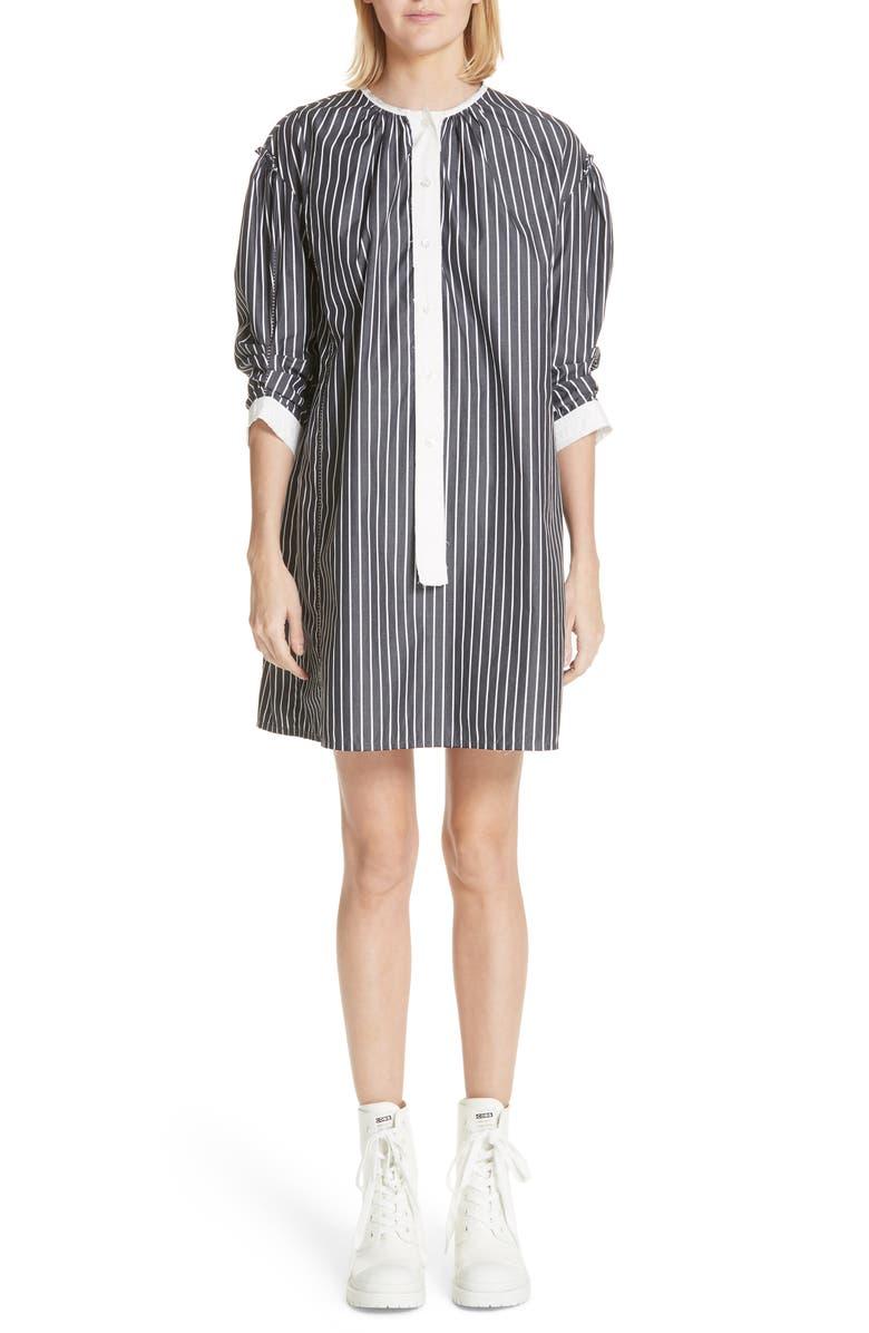 Vertical Stripe Drop Shoulder Dress
